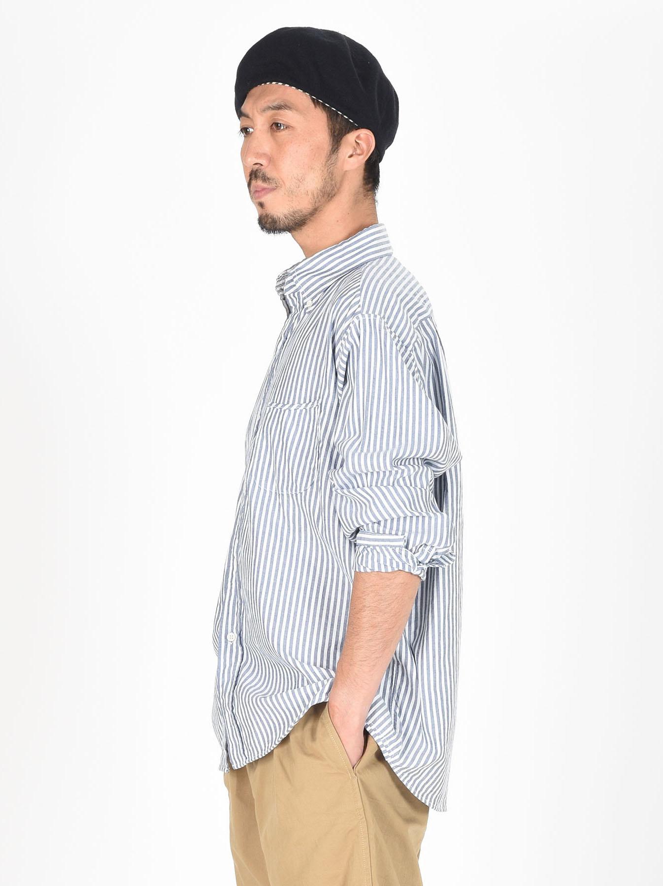 Indigo Thin Oxford Button Down Shirt-4