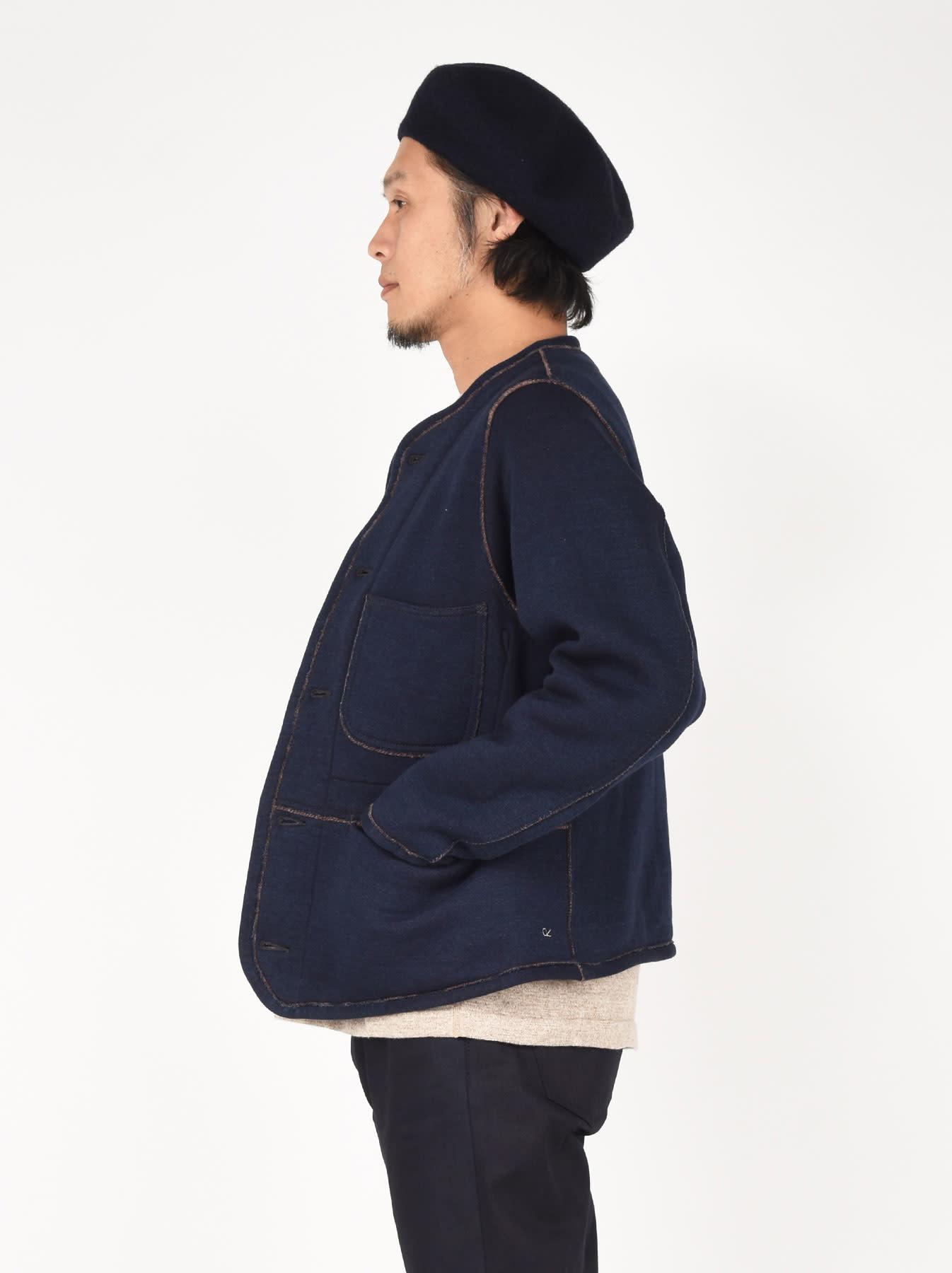 Indigo Hokkaido Fleecy Liner Cardigan-3