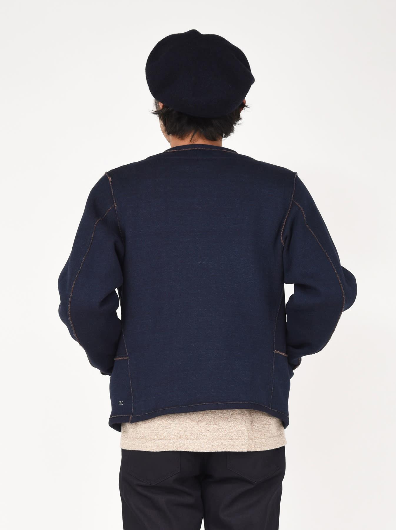 Indigo Hokkaido Fleecy Liner Cardigan-4
