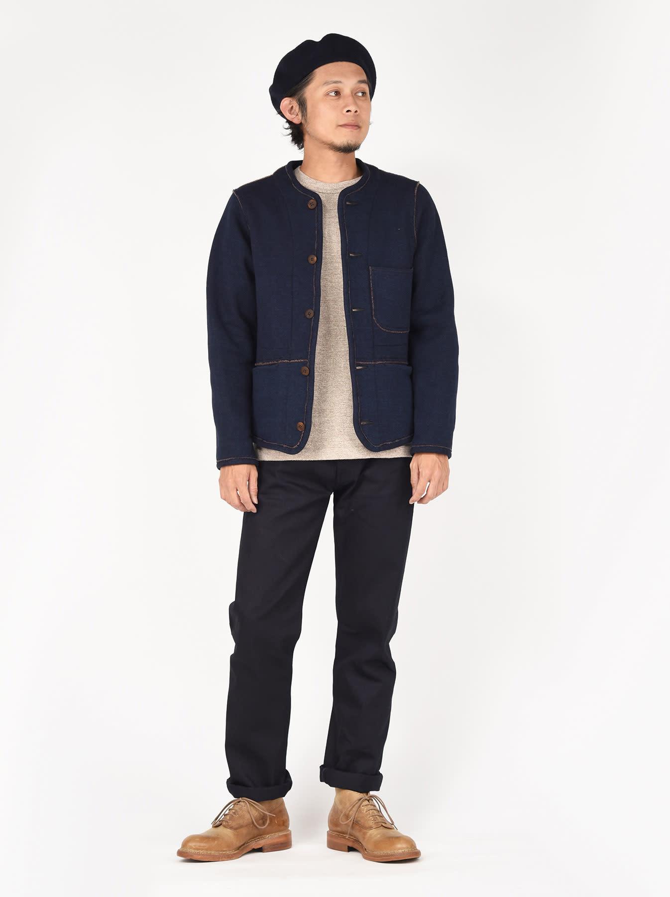 Indigo Hokkaido Fleecy Liner Cardigan-2
