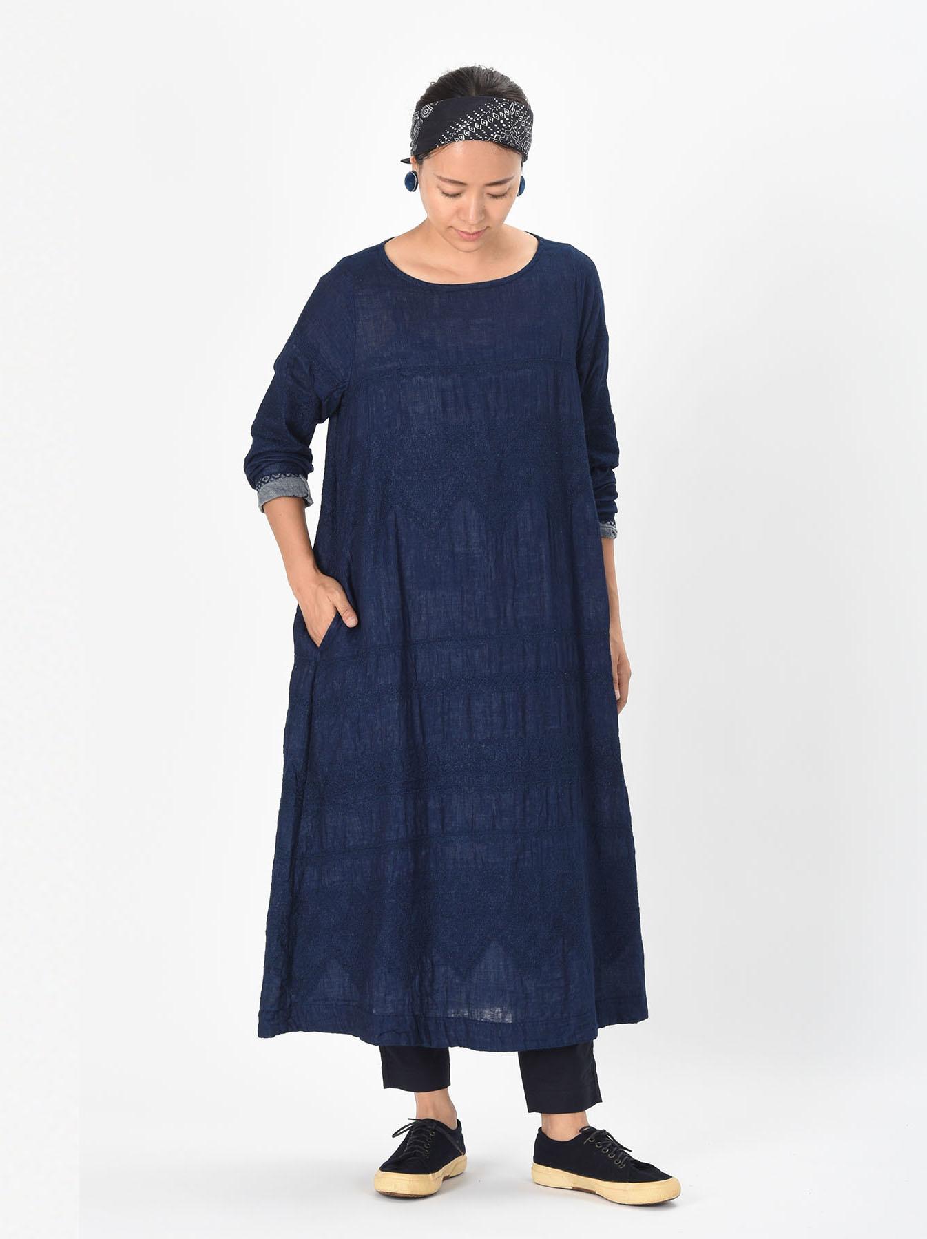 Indigo Double Cloth Lace Embroidery Dress-2