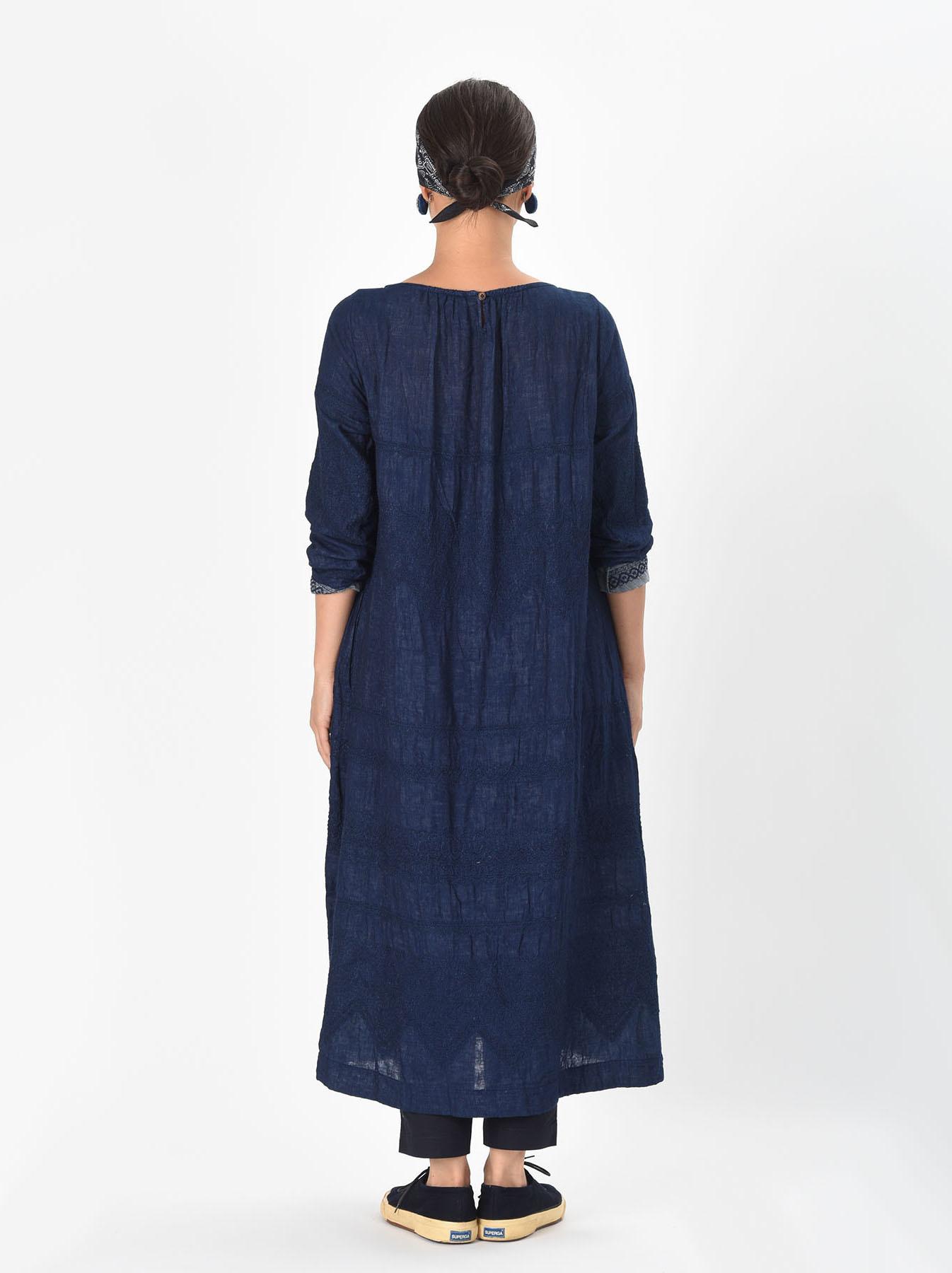 Indigo Double Cloth Lace Embroidery Dress-4