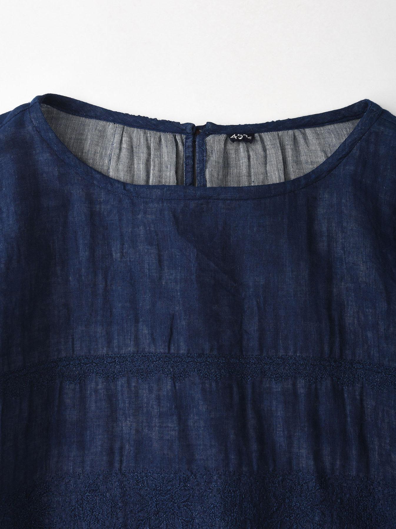 Indigo Double Cloth Lace Embroidery Dress-5