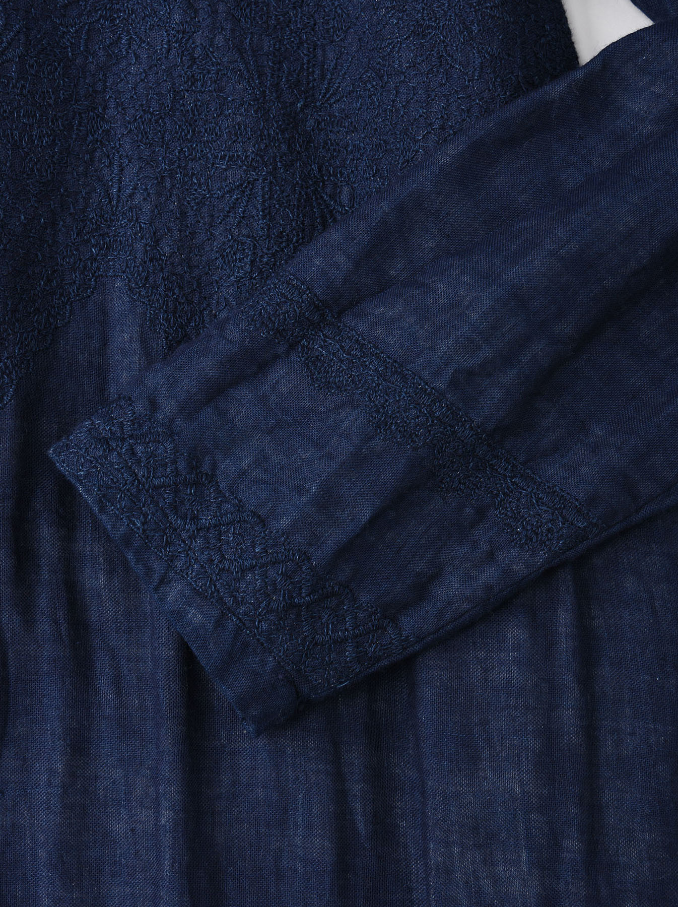 Indigo Double Cloth Lace Embroidery Dress-6