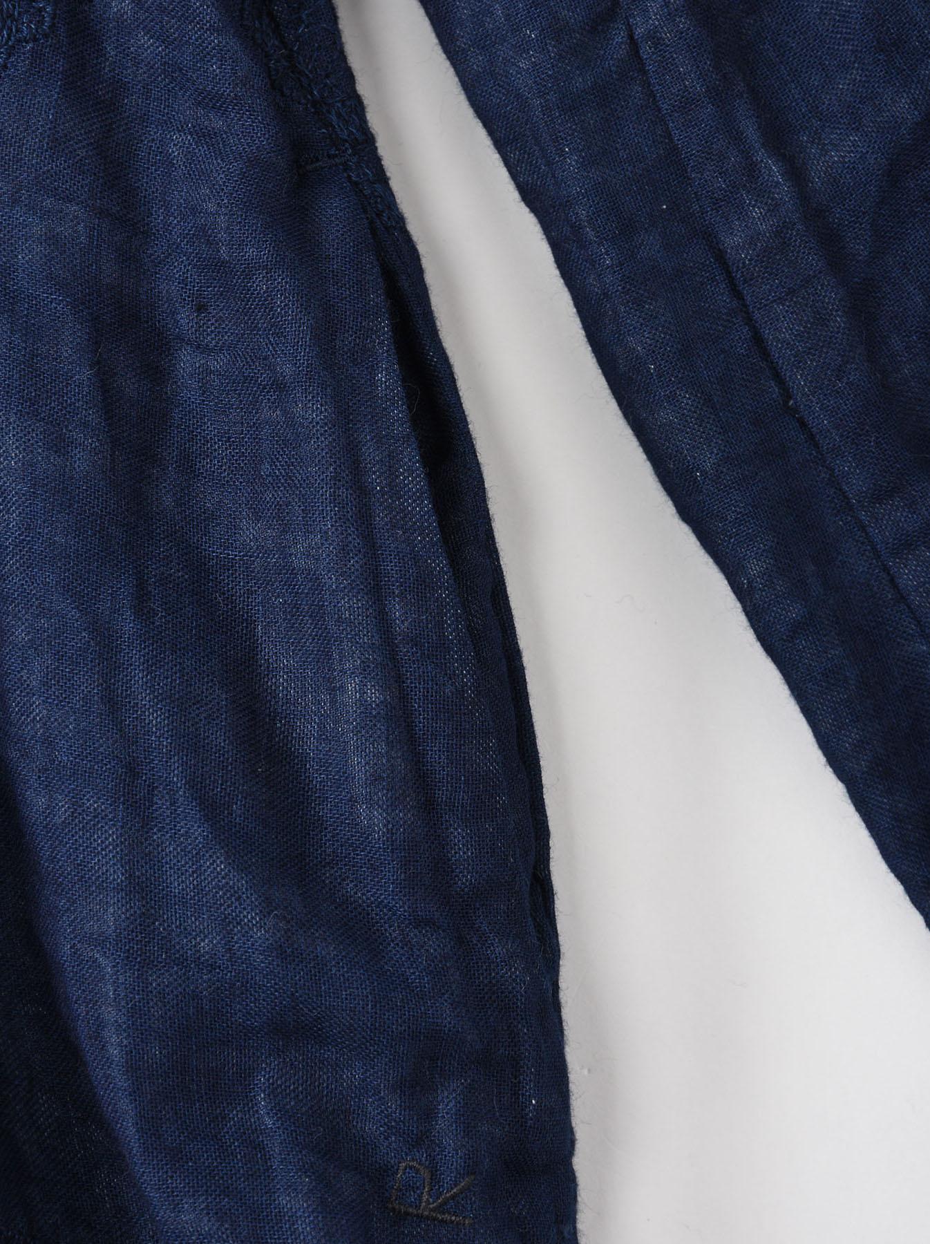 Indigo Double Cloth Lace Embroidery Dress-7