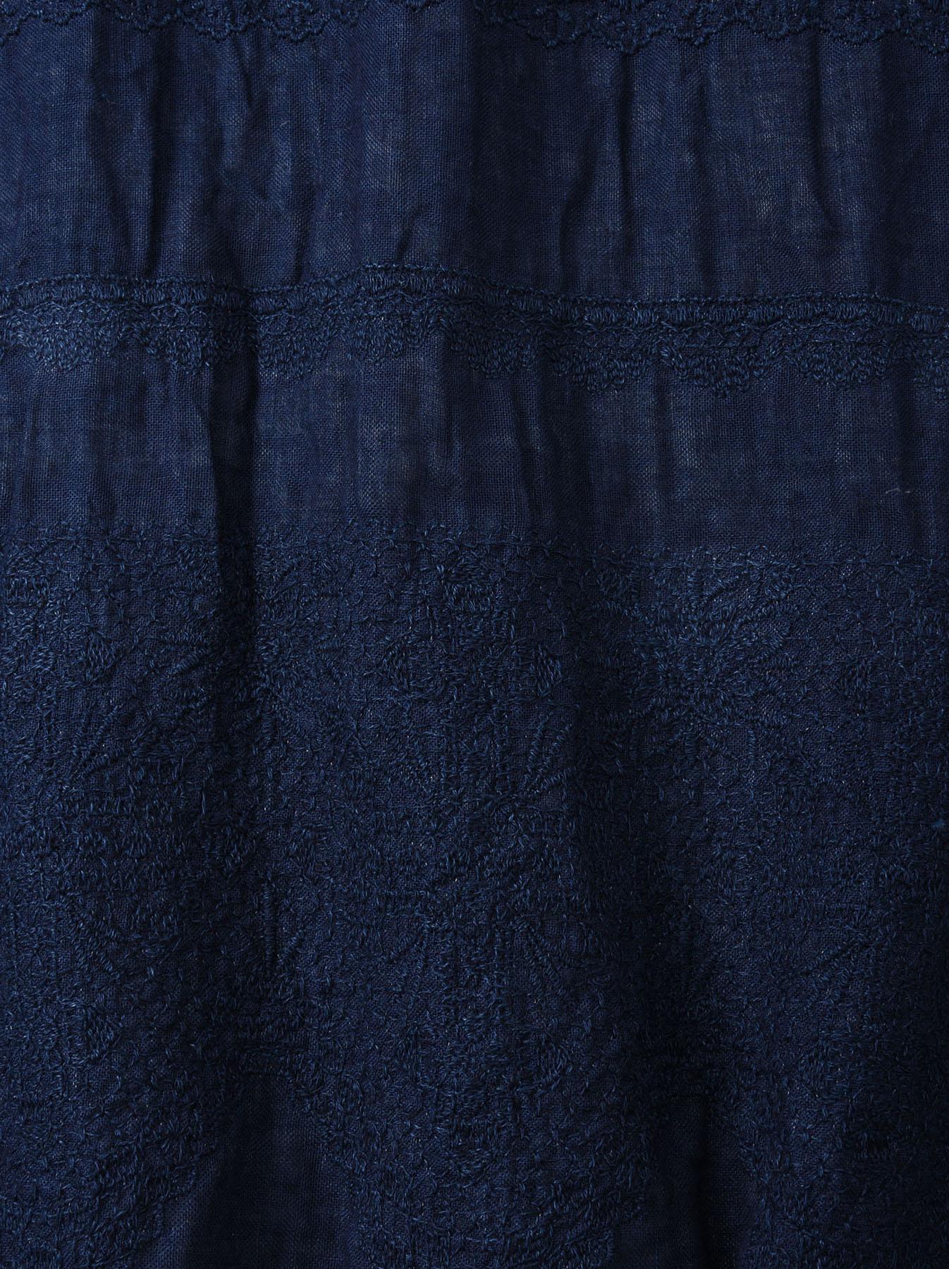 Indigo Double Cloth Lace Embroidery Dress-8