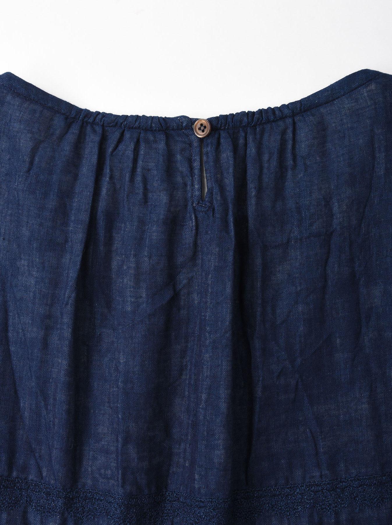 Indigo Double Cloth Lace Embroidery Dress-9