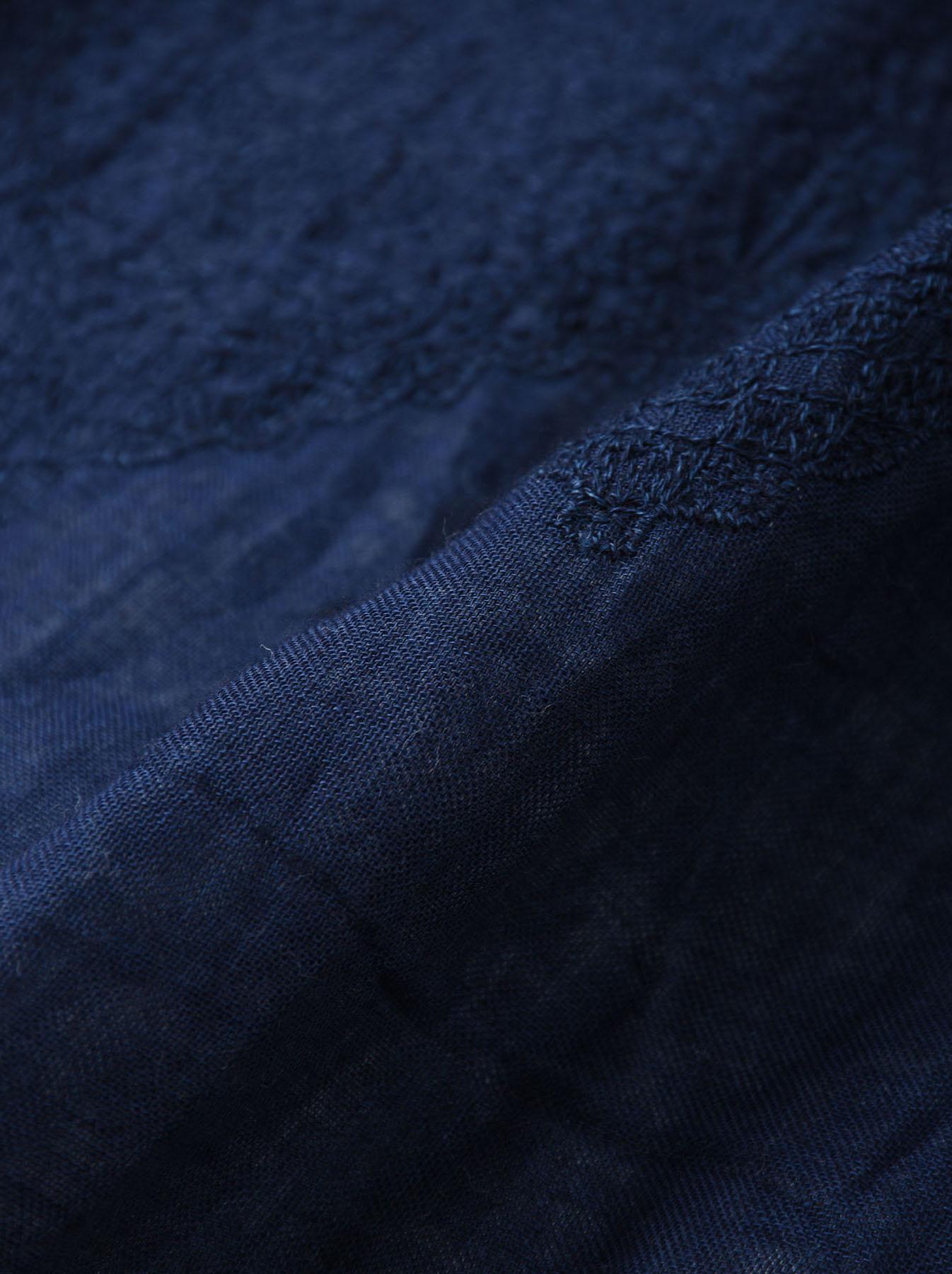 Indigo Double Cloth Lace Embroidery Dress-10