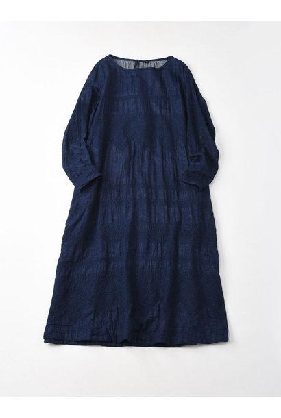 Indigo Double Cloth Lace Embroidery Dress