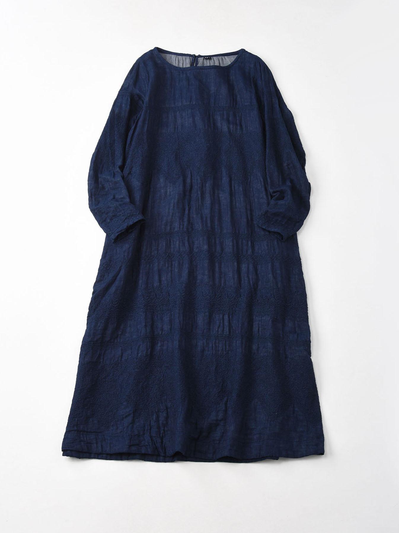 Indigo Double Cloth Lace Embroidery Dress-1