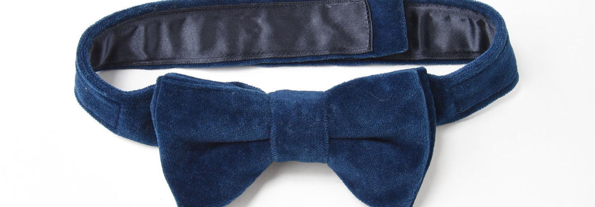 Indigo Velveteen Bow Tie