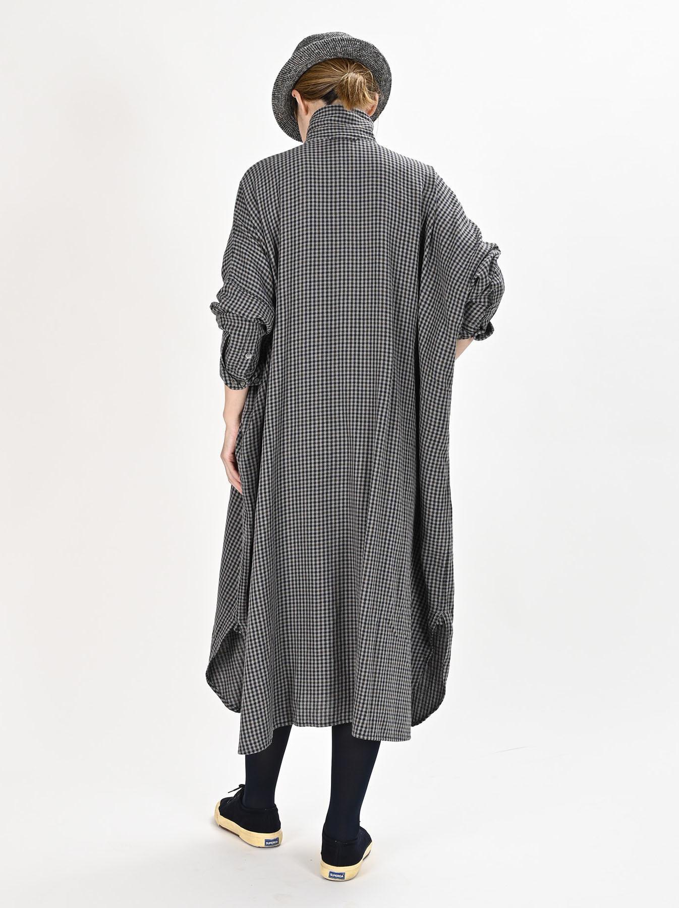 Indian Flannel Big Shirt Dress-4