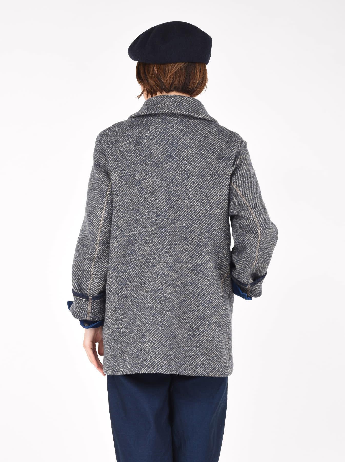 Denim Tweed Knit Coat-5