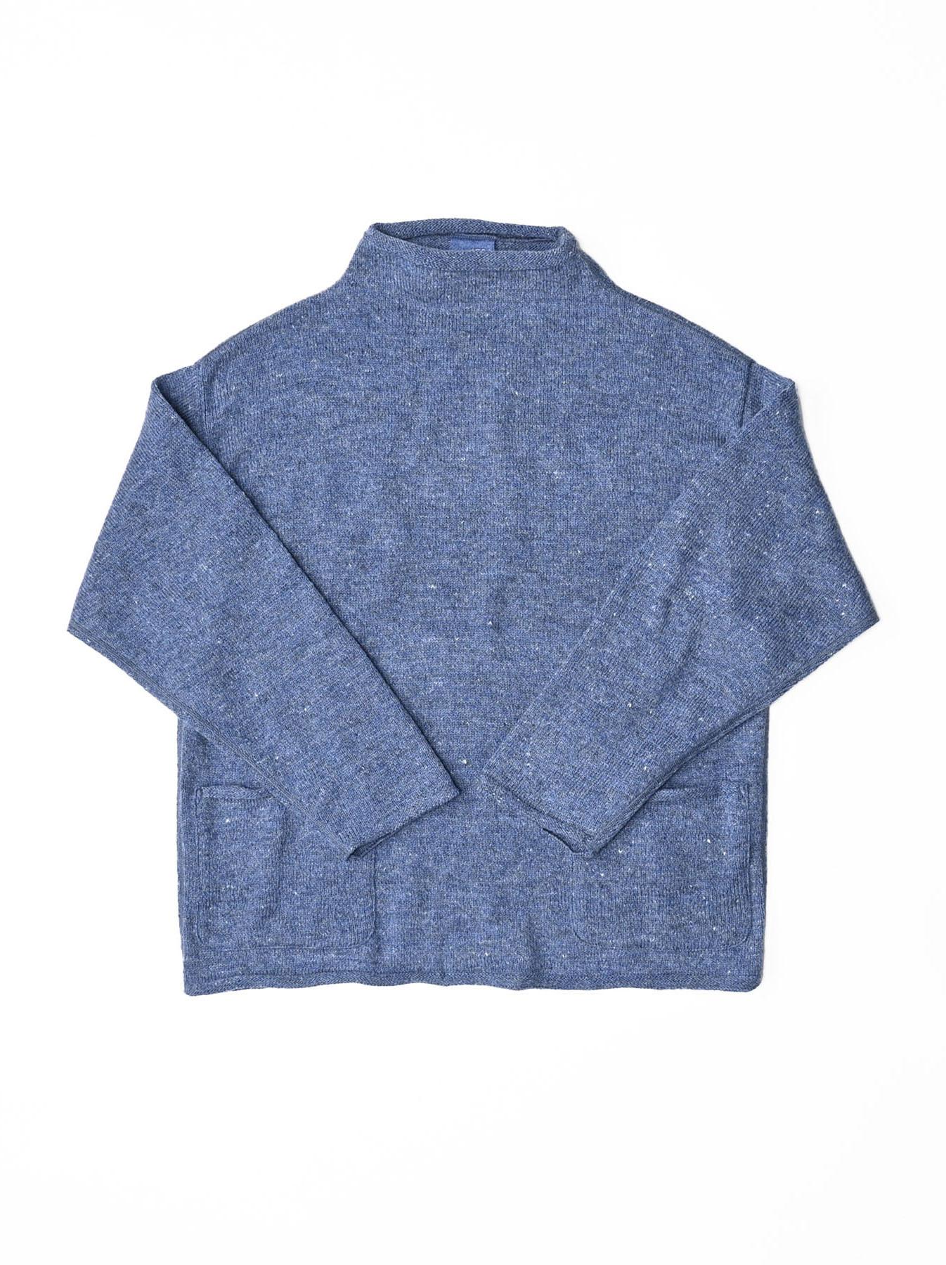 Cotton Shetland Knit-sew Mockneck Sweater-4