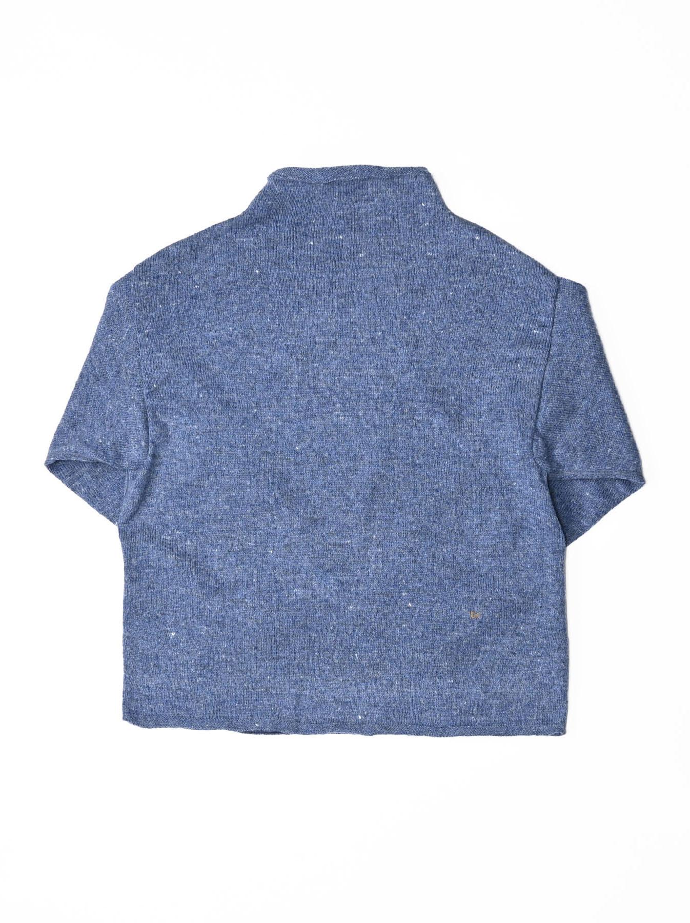 Cotton Shetland Knit-sew Mockneck Sweater-5