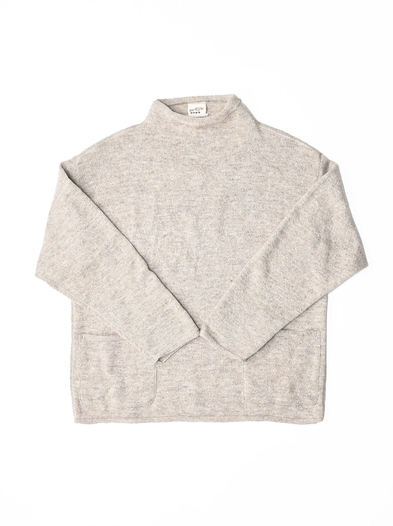 Cotton Shetland Knit-sew Mockneck Sweater-3
