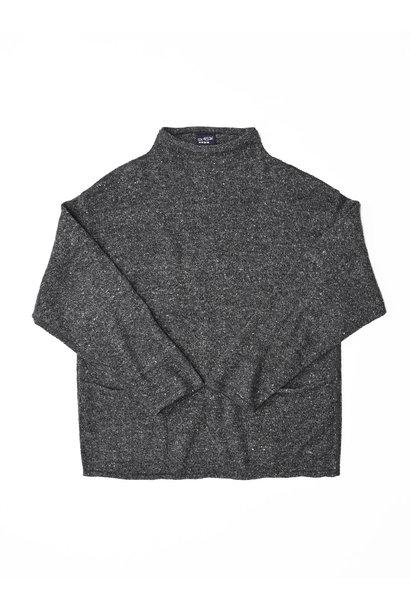 Cotton Shetland Knit-sew Mockneck Sweater