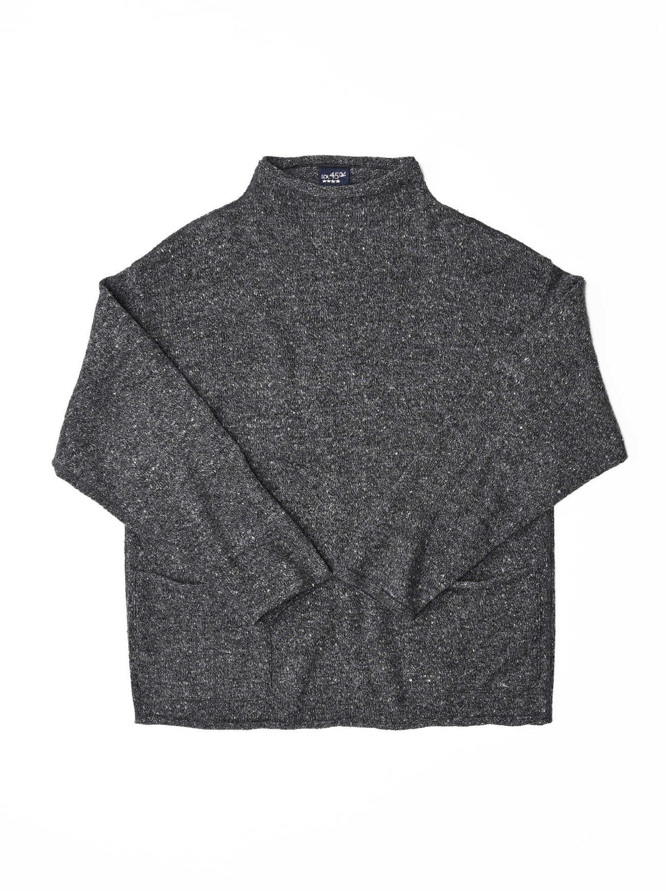 Cotton Shetland Knit-sew Mockneck Sweater-1