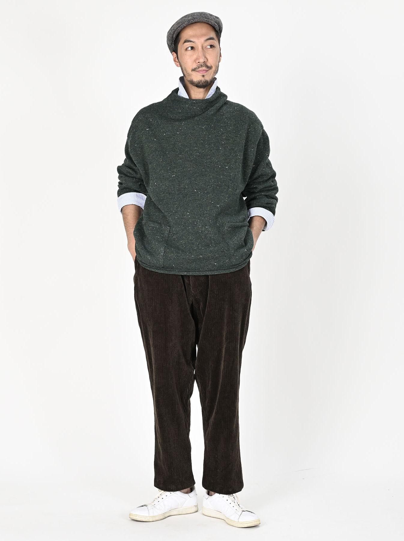 Cotton Shetland Knit-sew Mockneck Sweater-2