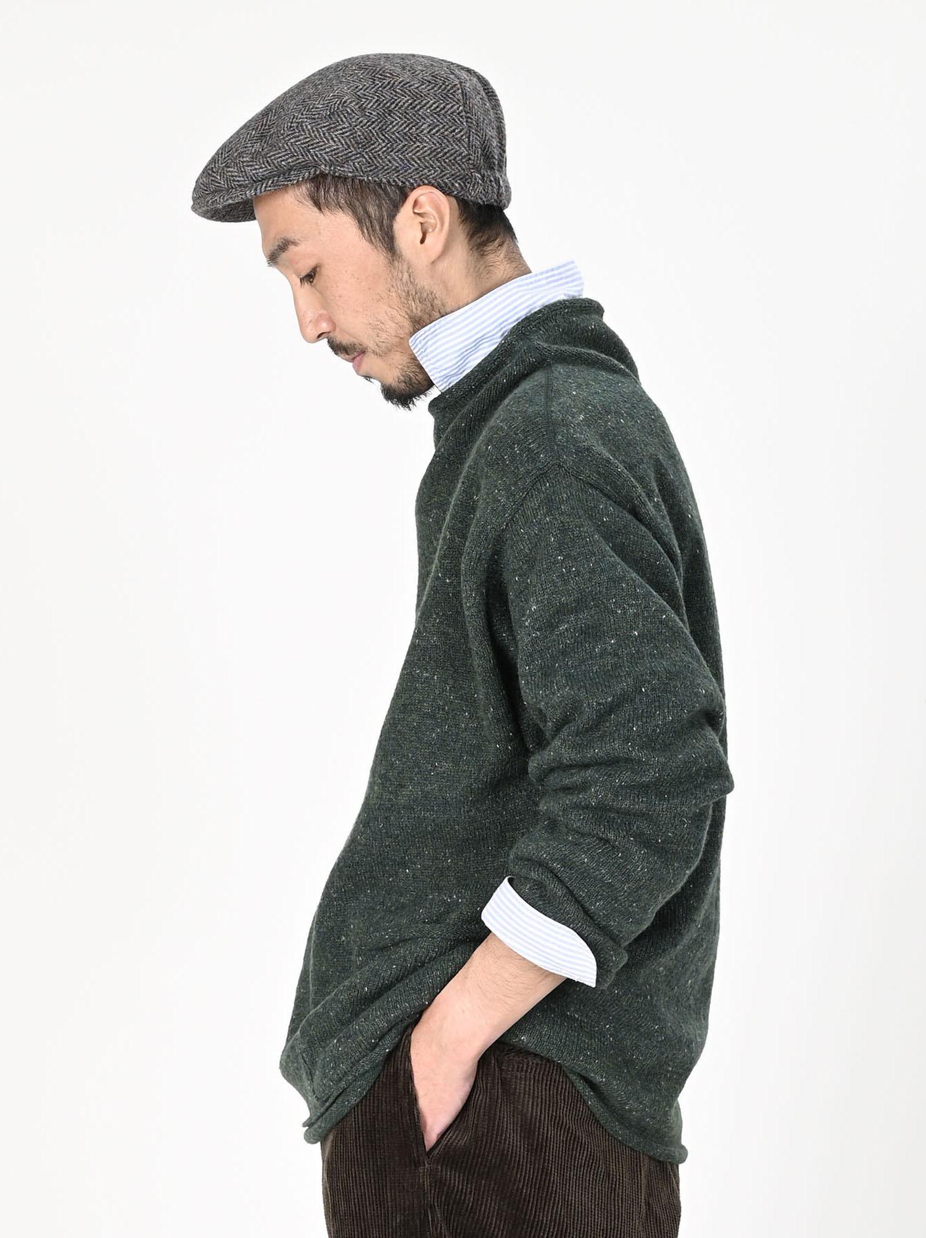 Cotton Shetland Knit-sew Mockneck Sweater-7