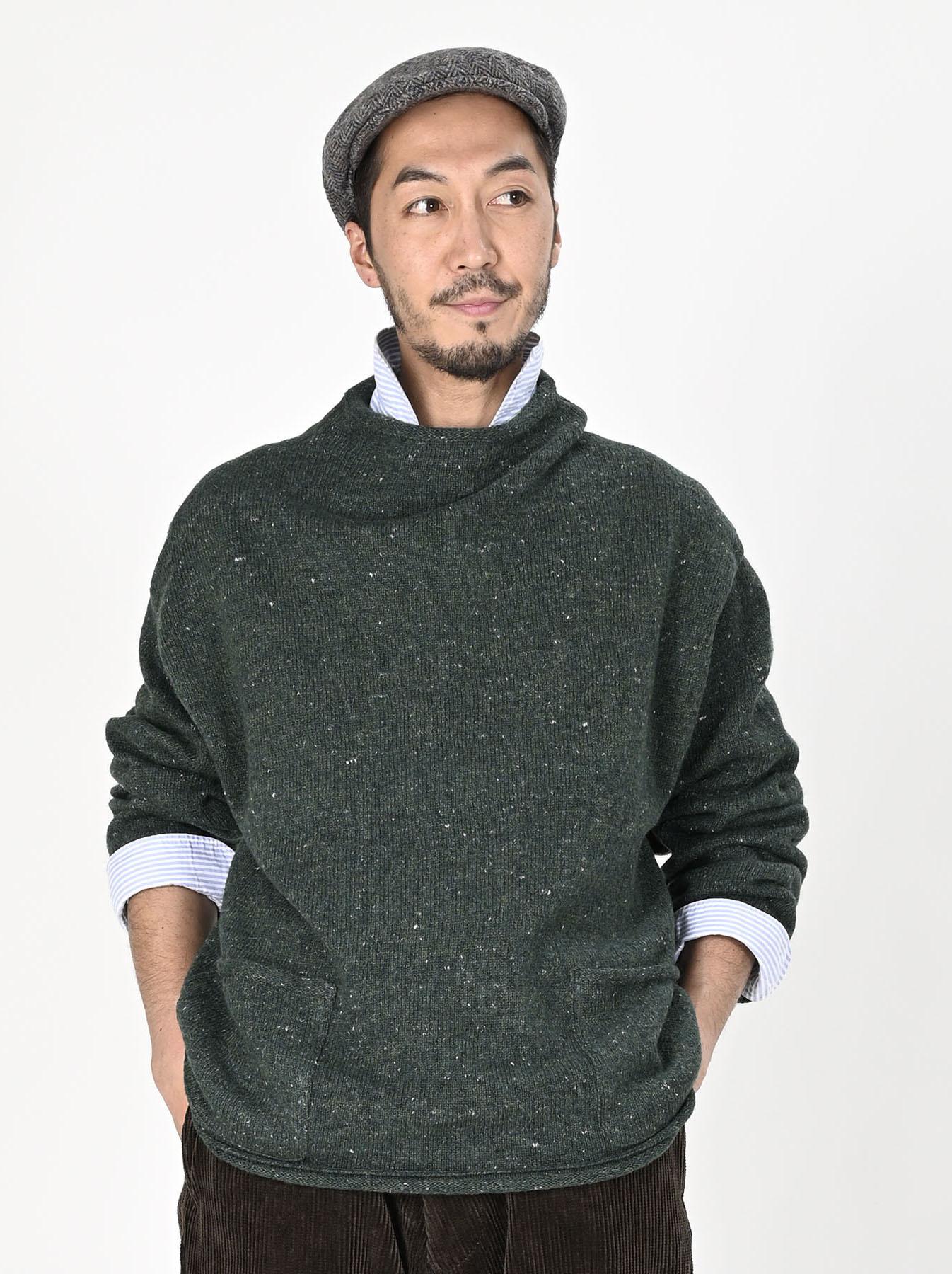Cotton Shetland Knit-sew Mockneck Sweater-6