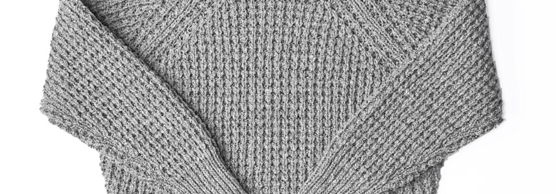 Cotton Knit-sew Big Waffle Sweater