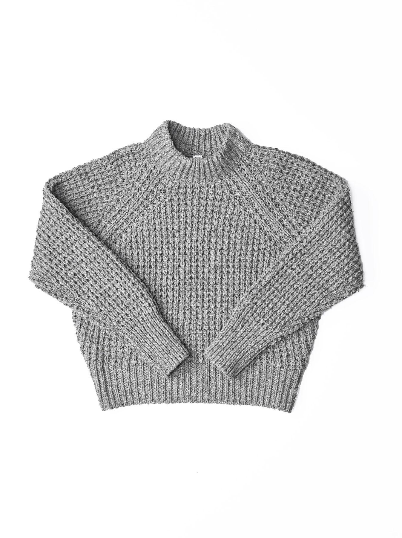 Cotton Knit-sew Big Waffle Sweater-1