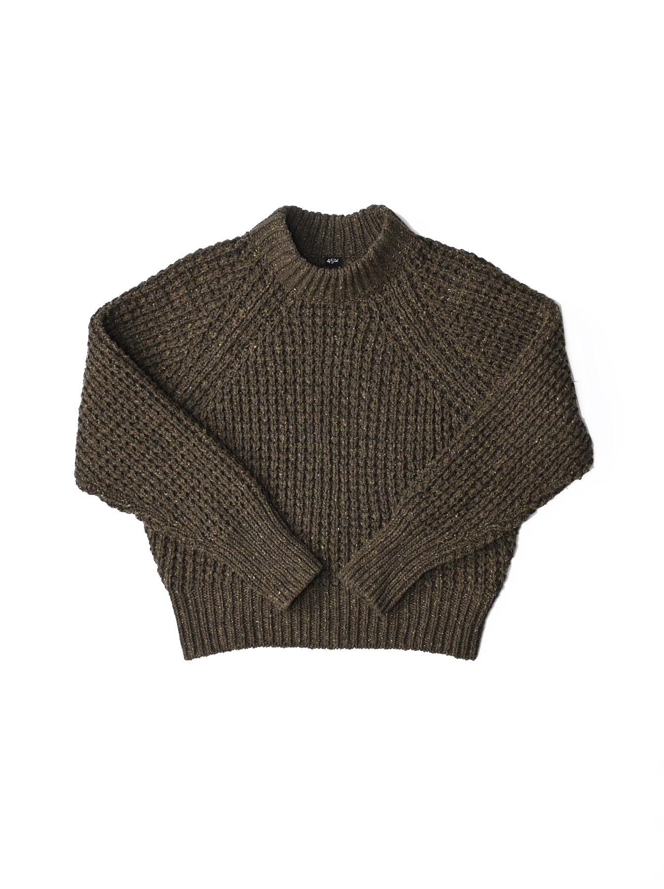 Cotton Knit-sew Big Waffle Sweater-4