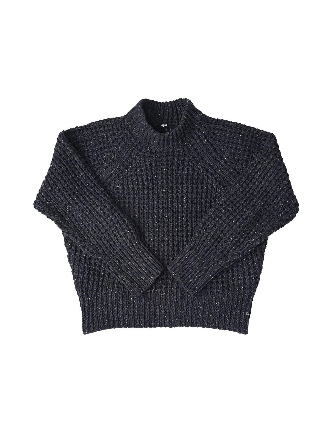 Cotton Knit-sew Big Waffle Sweater-3