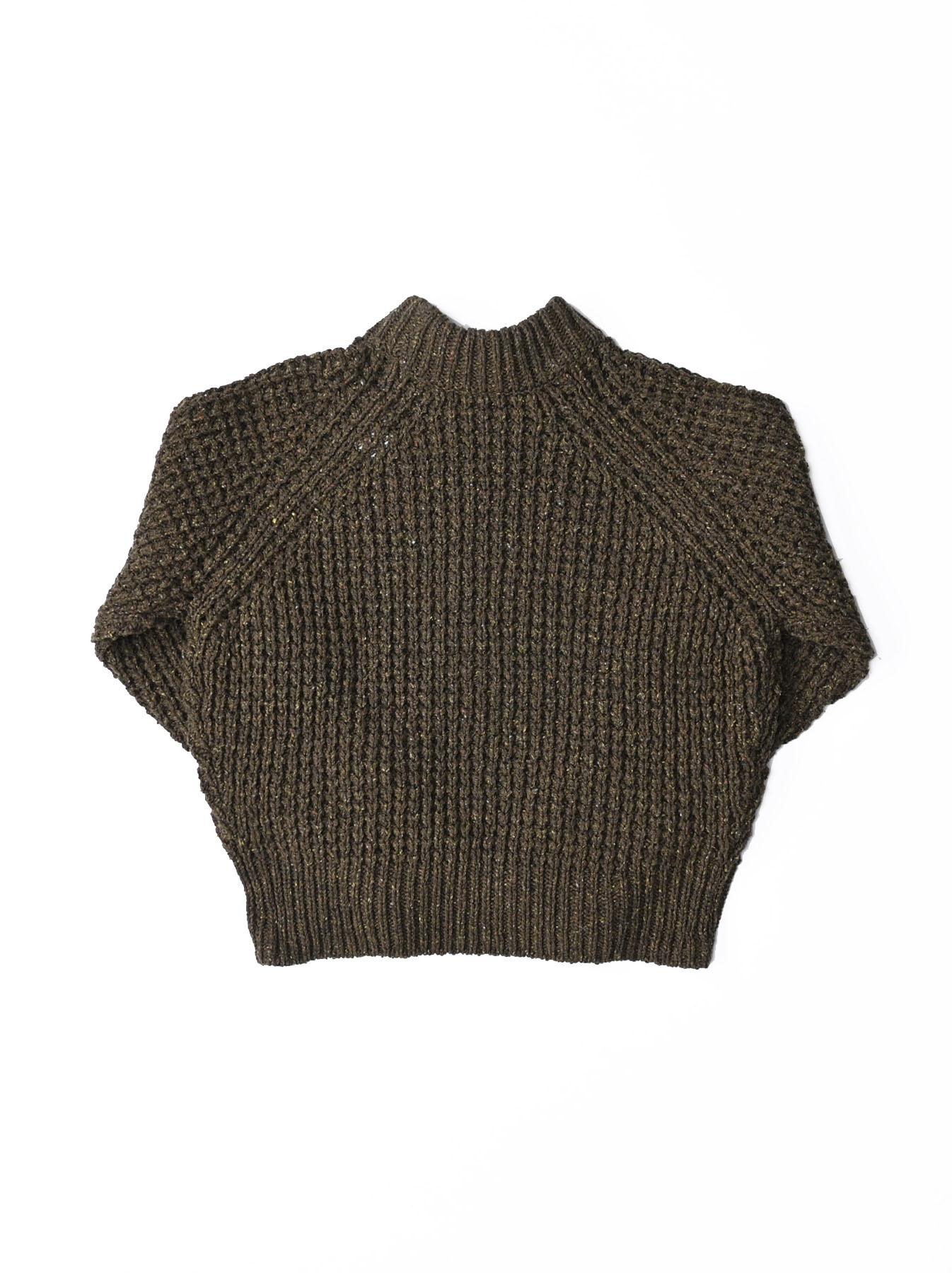 Cotton Knit-sew Big Waffle Sweater-5