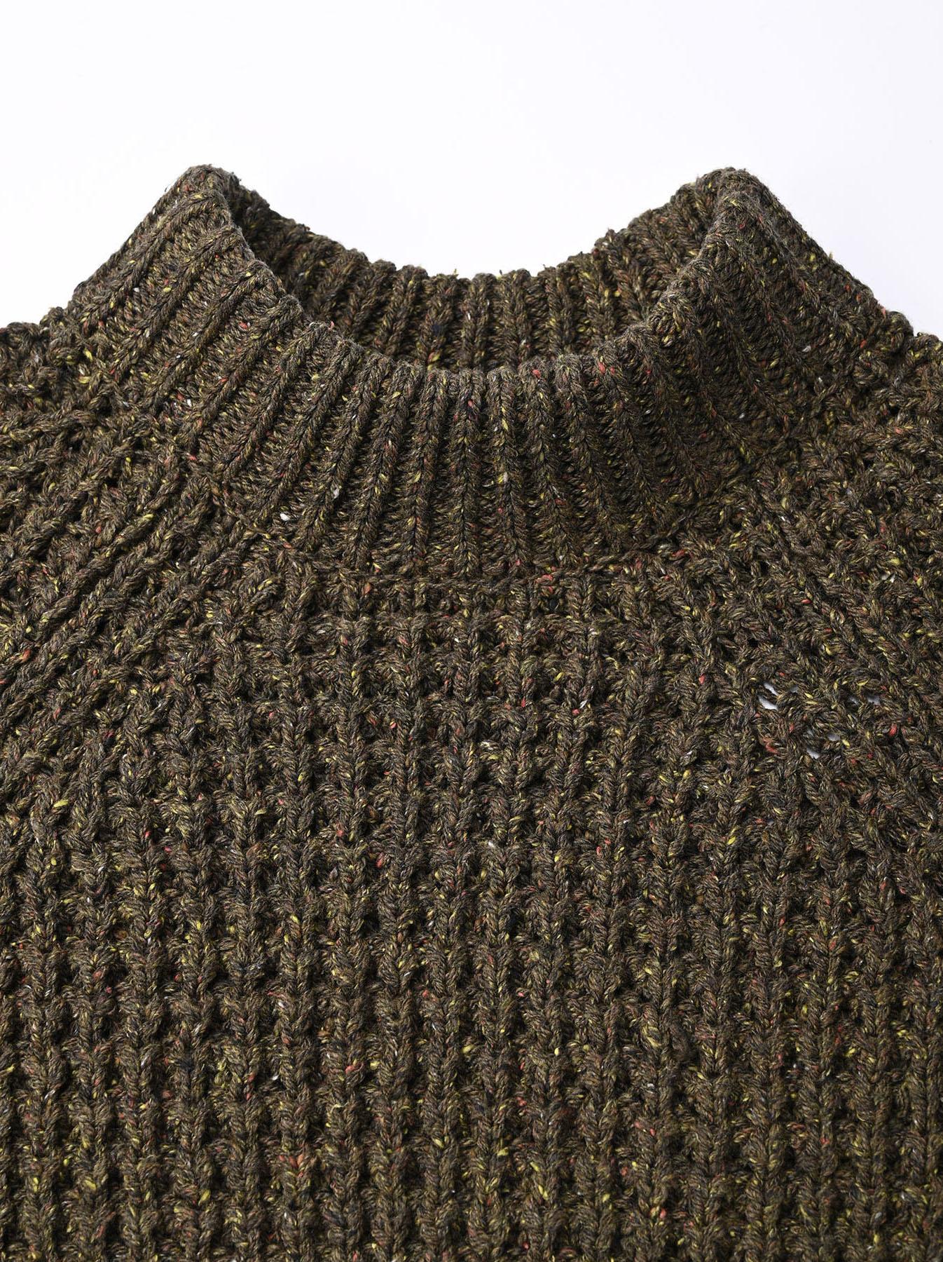 Cotton Knit-sew Big Waffle Sweater-6