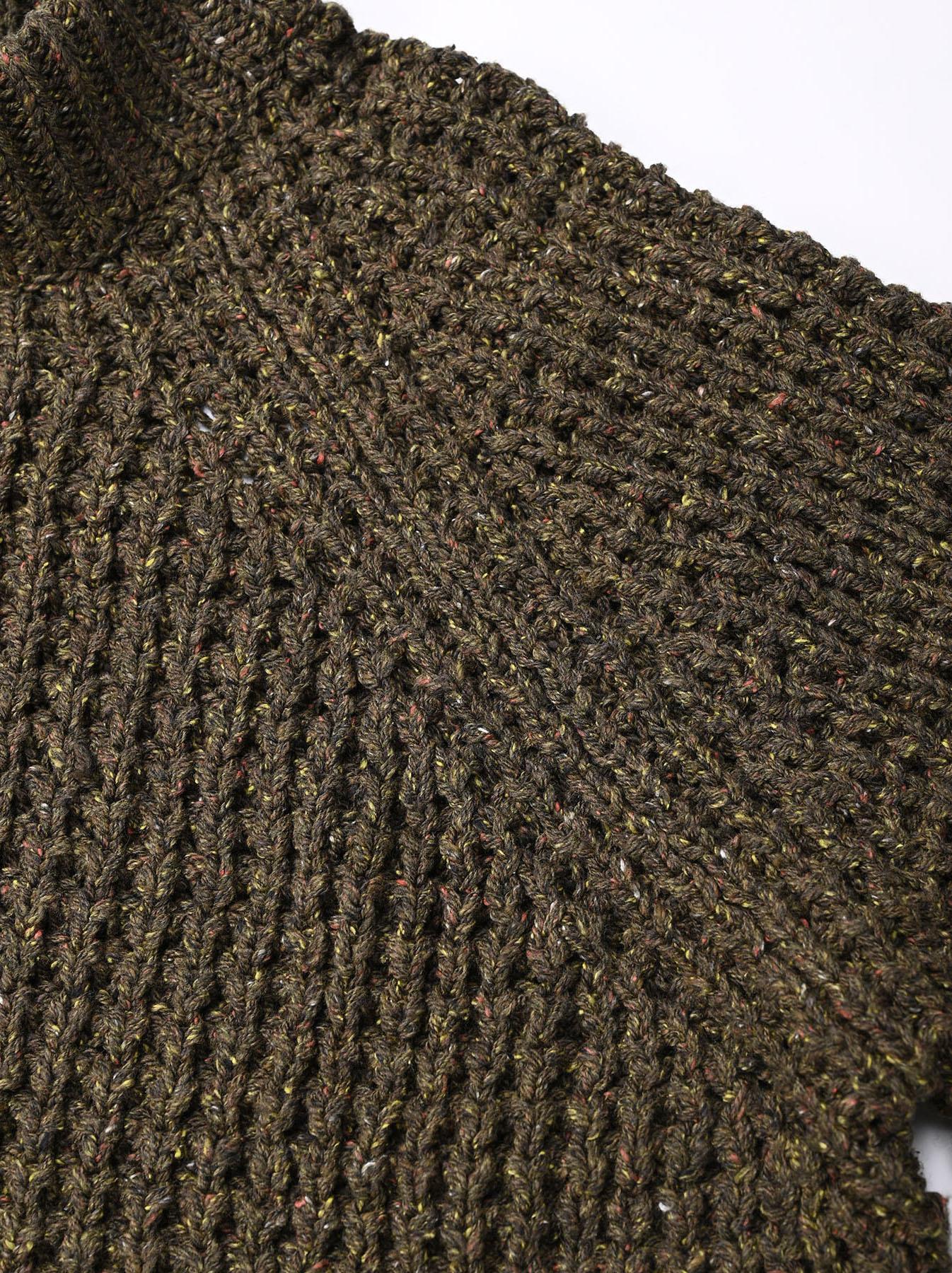 Cotton Knit-sew Big Waffle Sweater-7