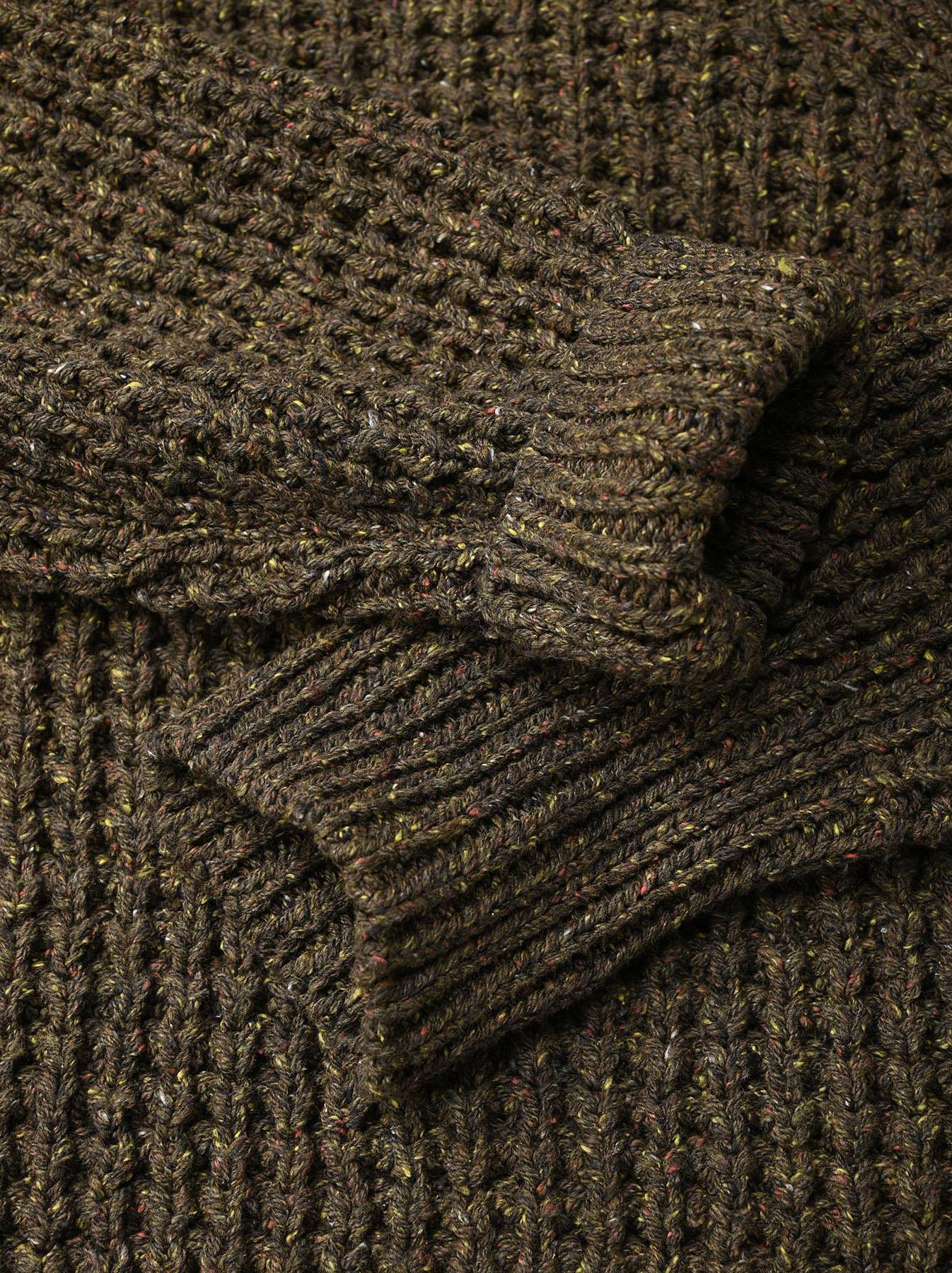 Cotton Knit-sew Big Waffle Sweater-8