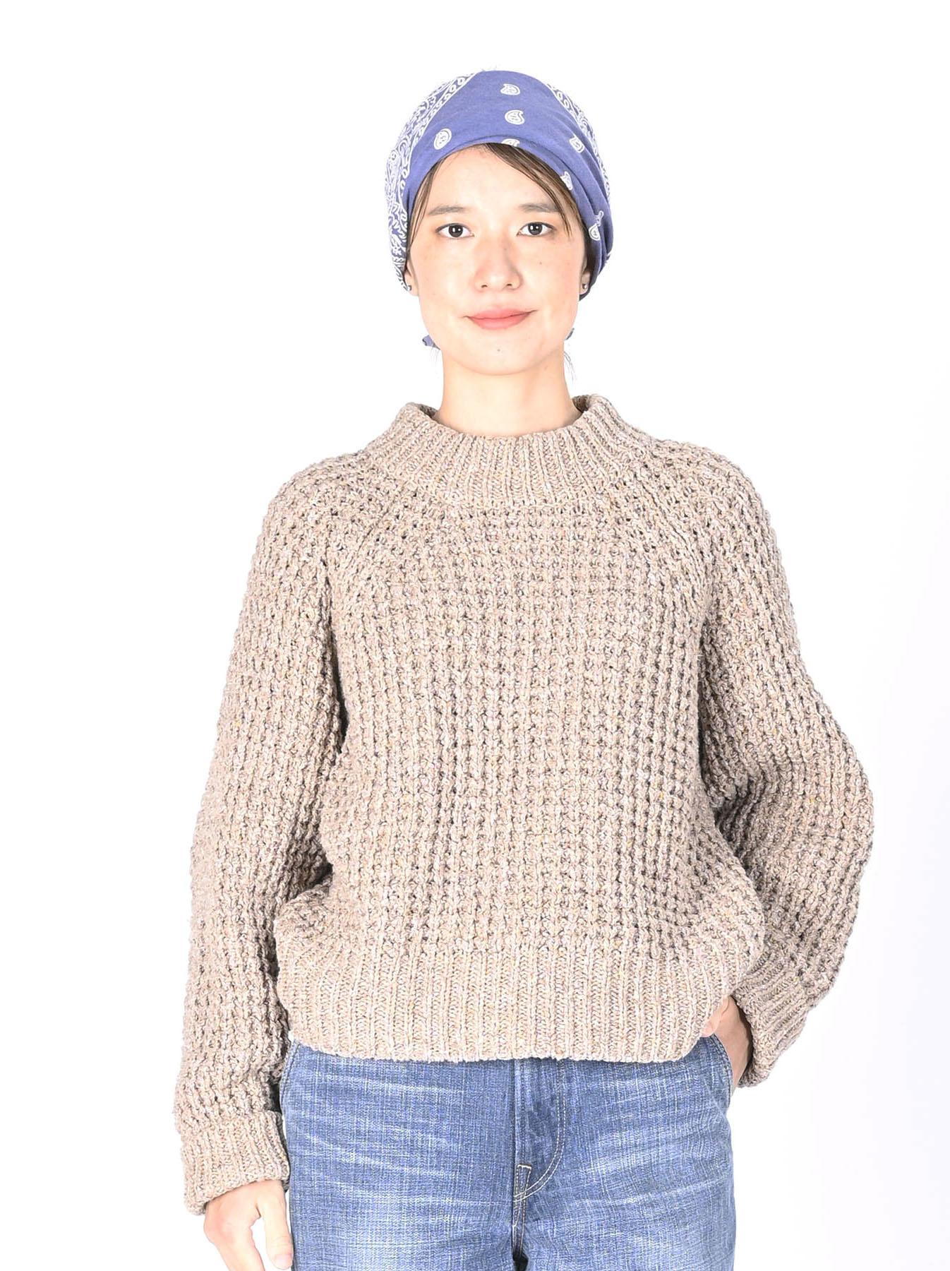 Cotton Knit-sew Big Waffle Sweater-10