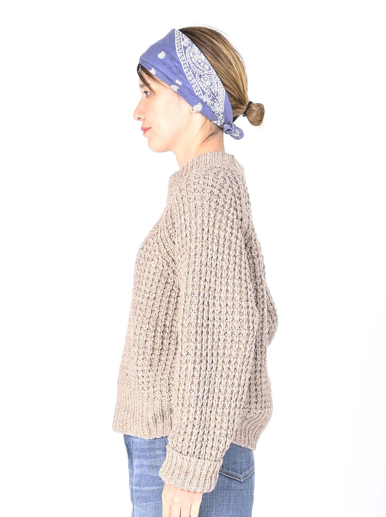 Cotton Knit-sew Big Waffle Sweater-11