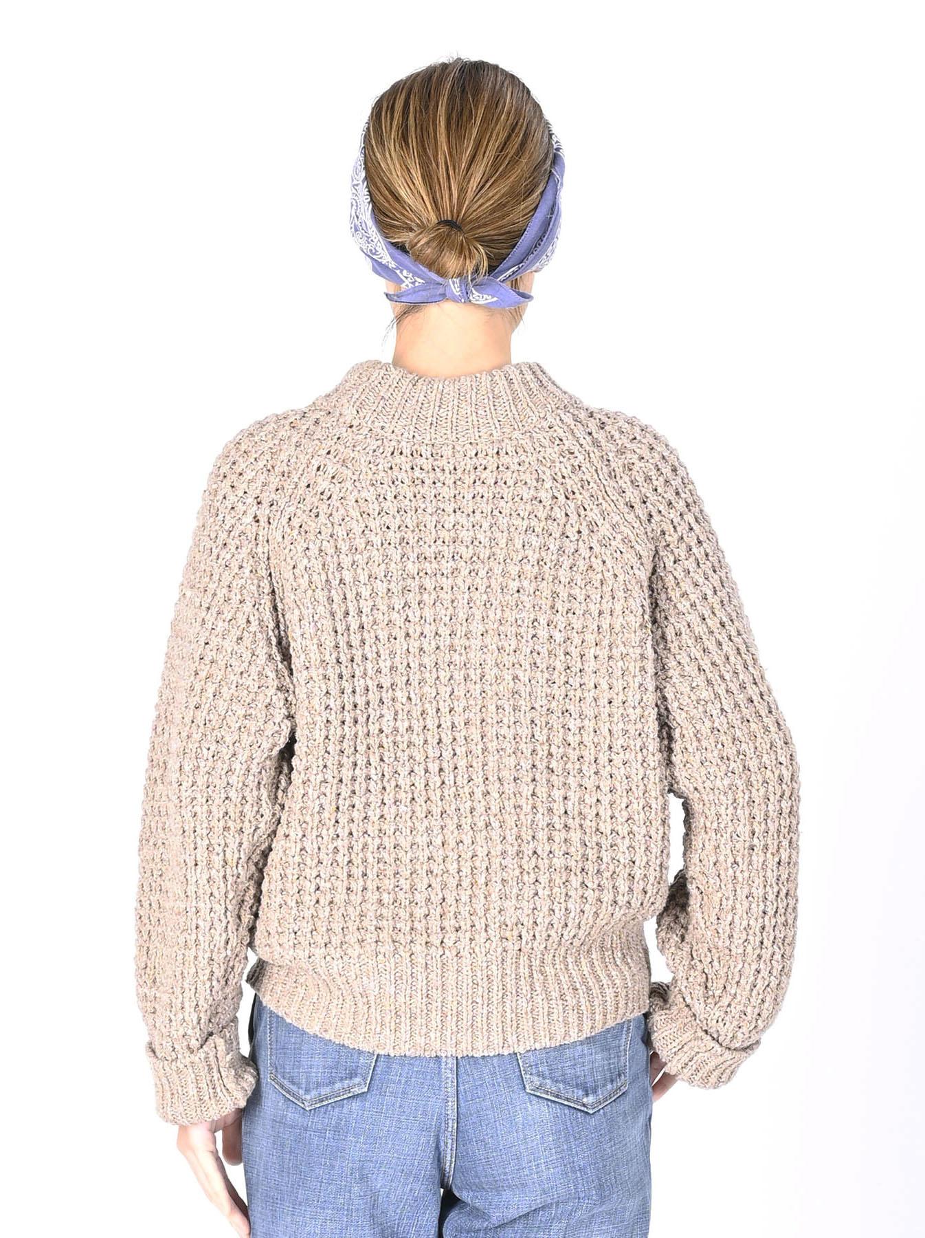 Cotton Knit-sew Big Waffle Sweater-12