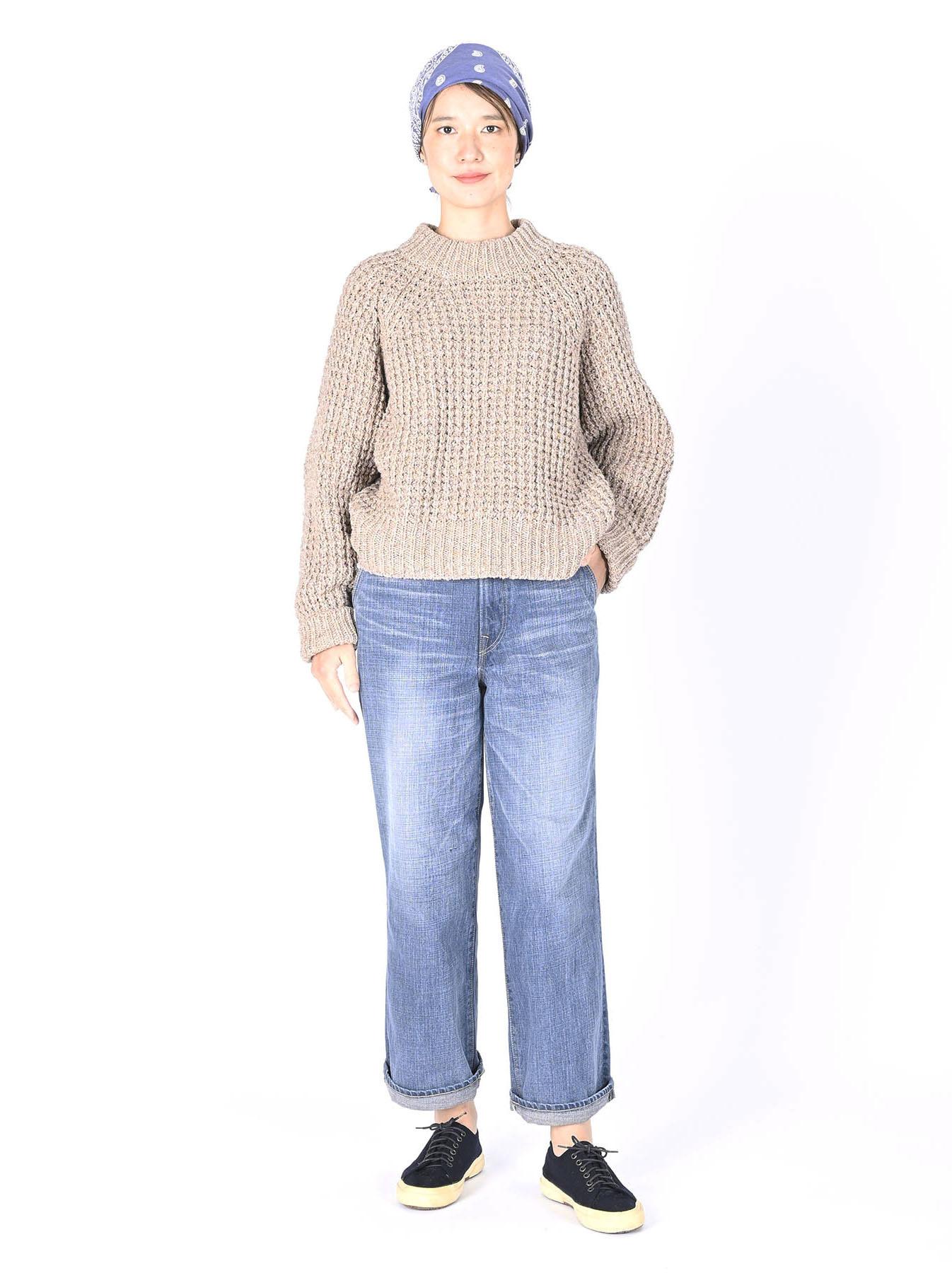 Cotton Knit-sew Big Waffle Sweater-2
