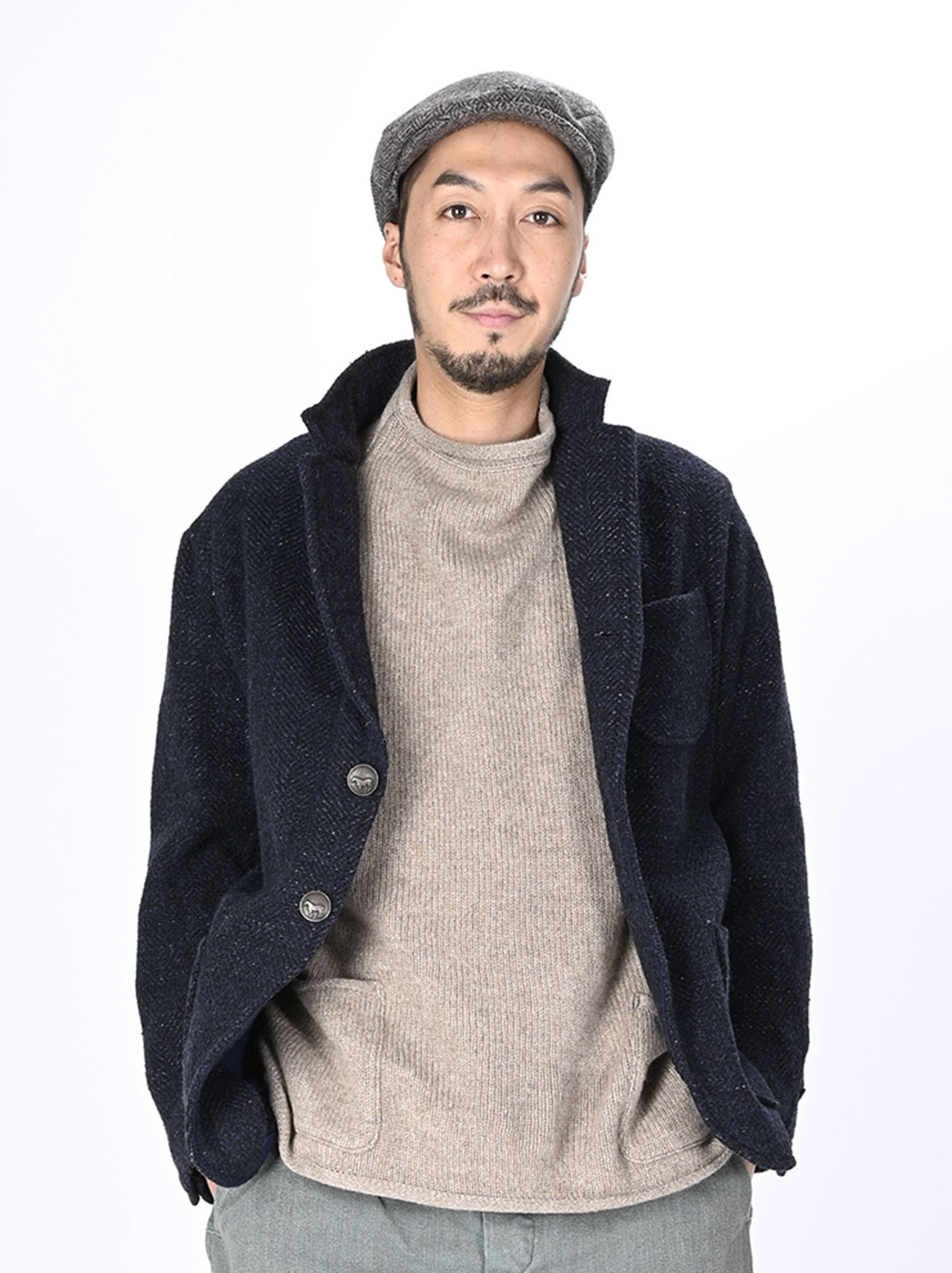 Indigo Tweed Melton Asama Jacket-10