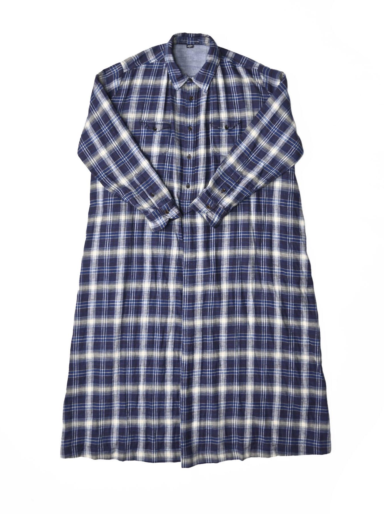 Indigo Twill Double Cloth Shirt Dress-1