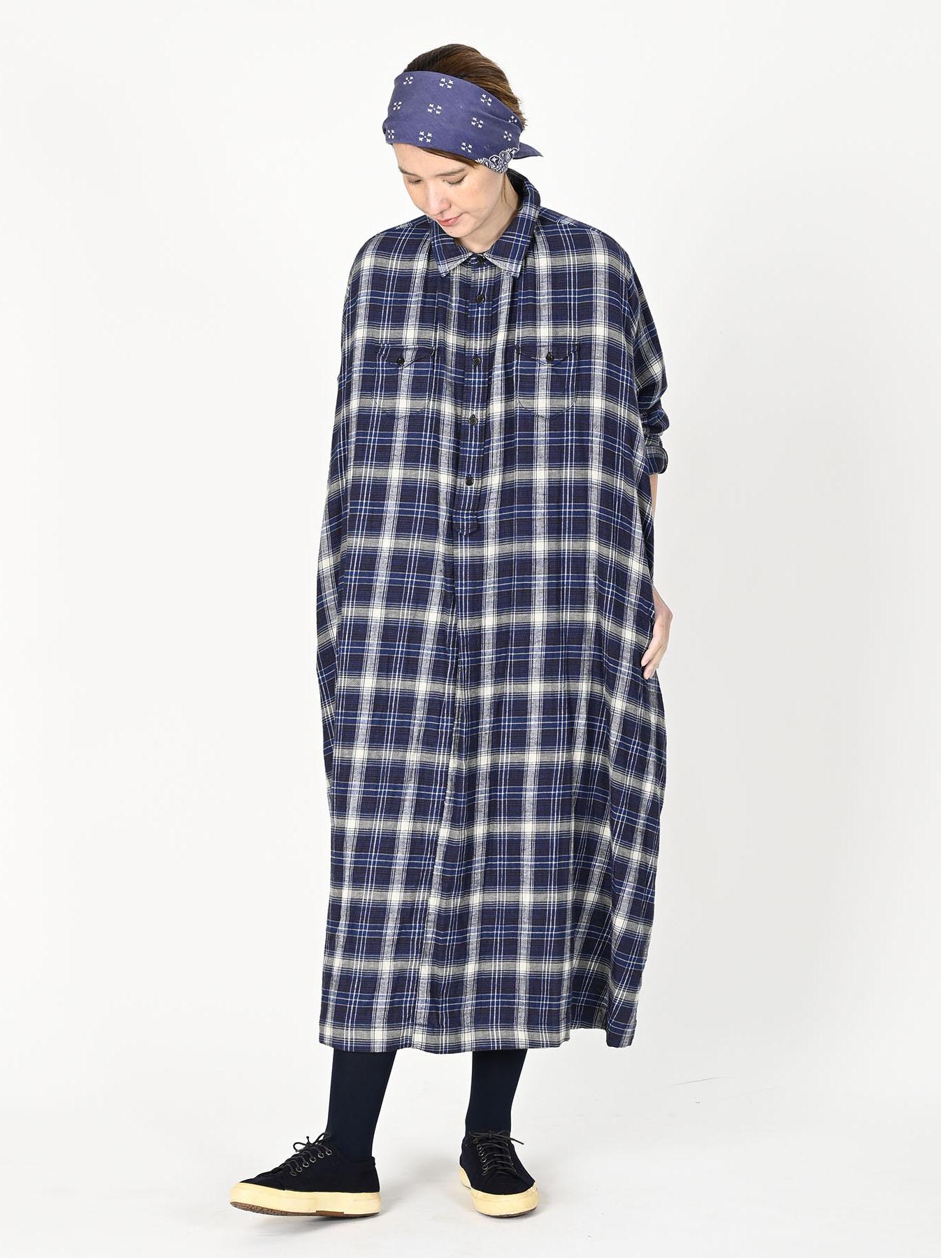 Indigo Twill Double Cloth Shirt Dress-2