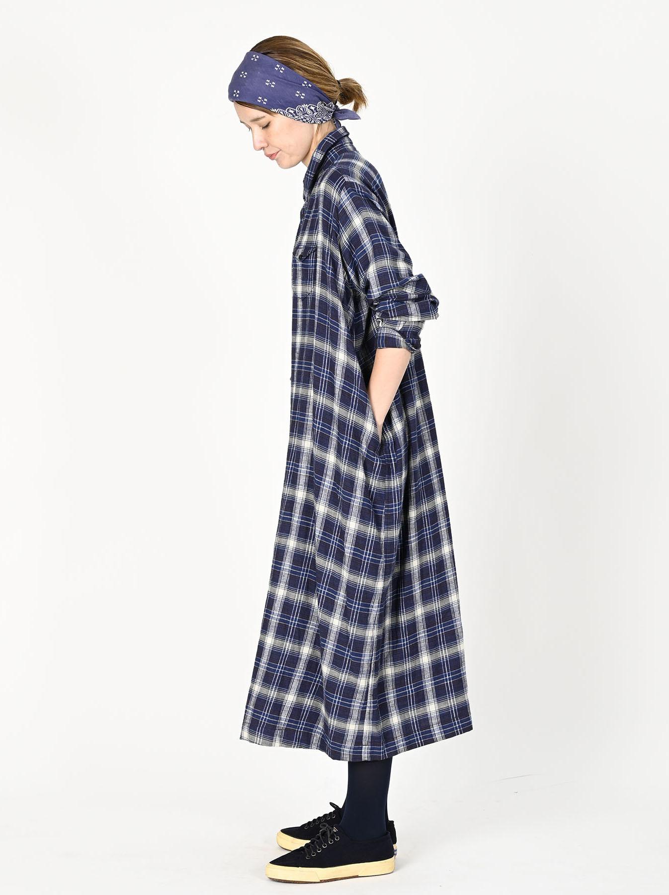 Indigo Twill Double Cloth Shirt Dress-3