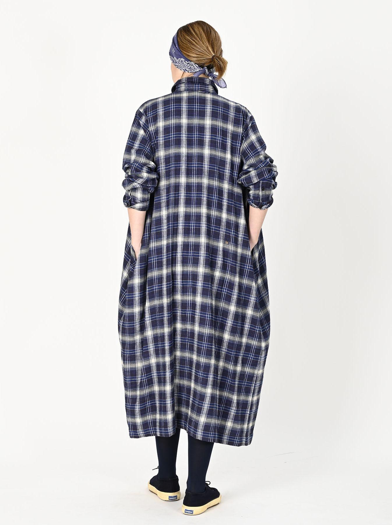 Indigo Twill Double Cloth Shirt Dress-4