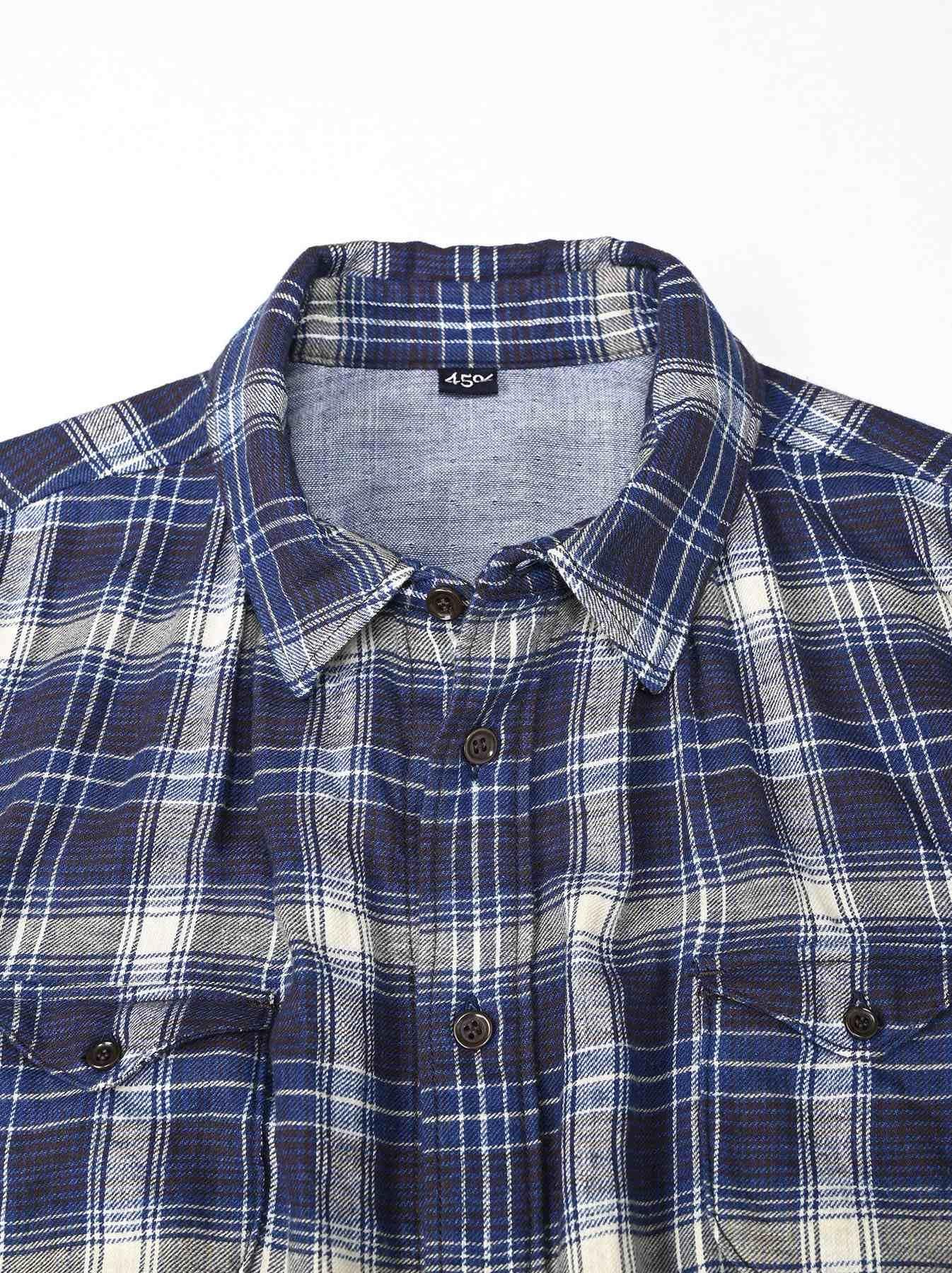 Indigo Twill Double Cloth Shirt Dress-6