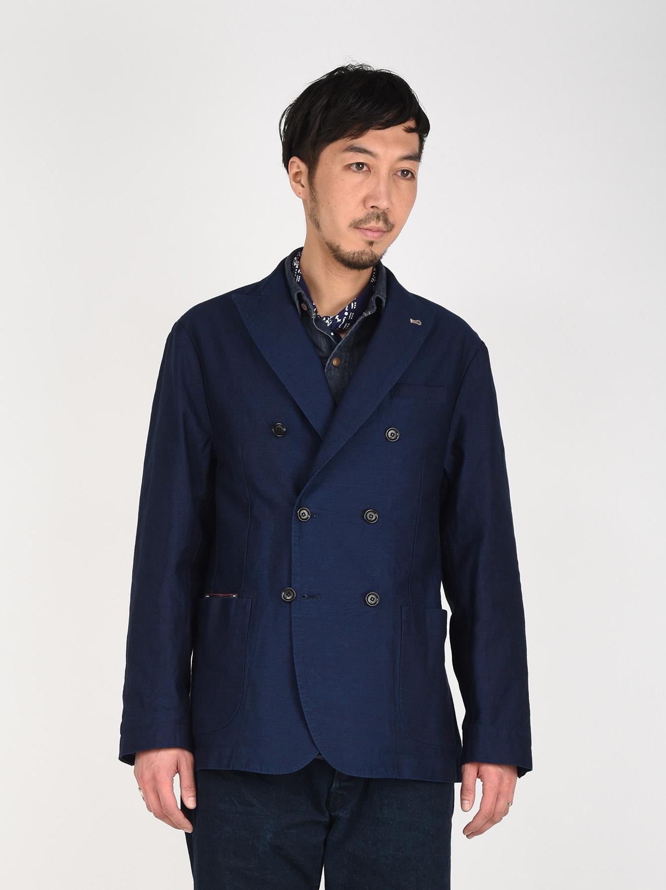 Indigo Mugi Yoko-shusi Soroe Double Breasted Jacket-3
