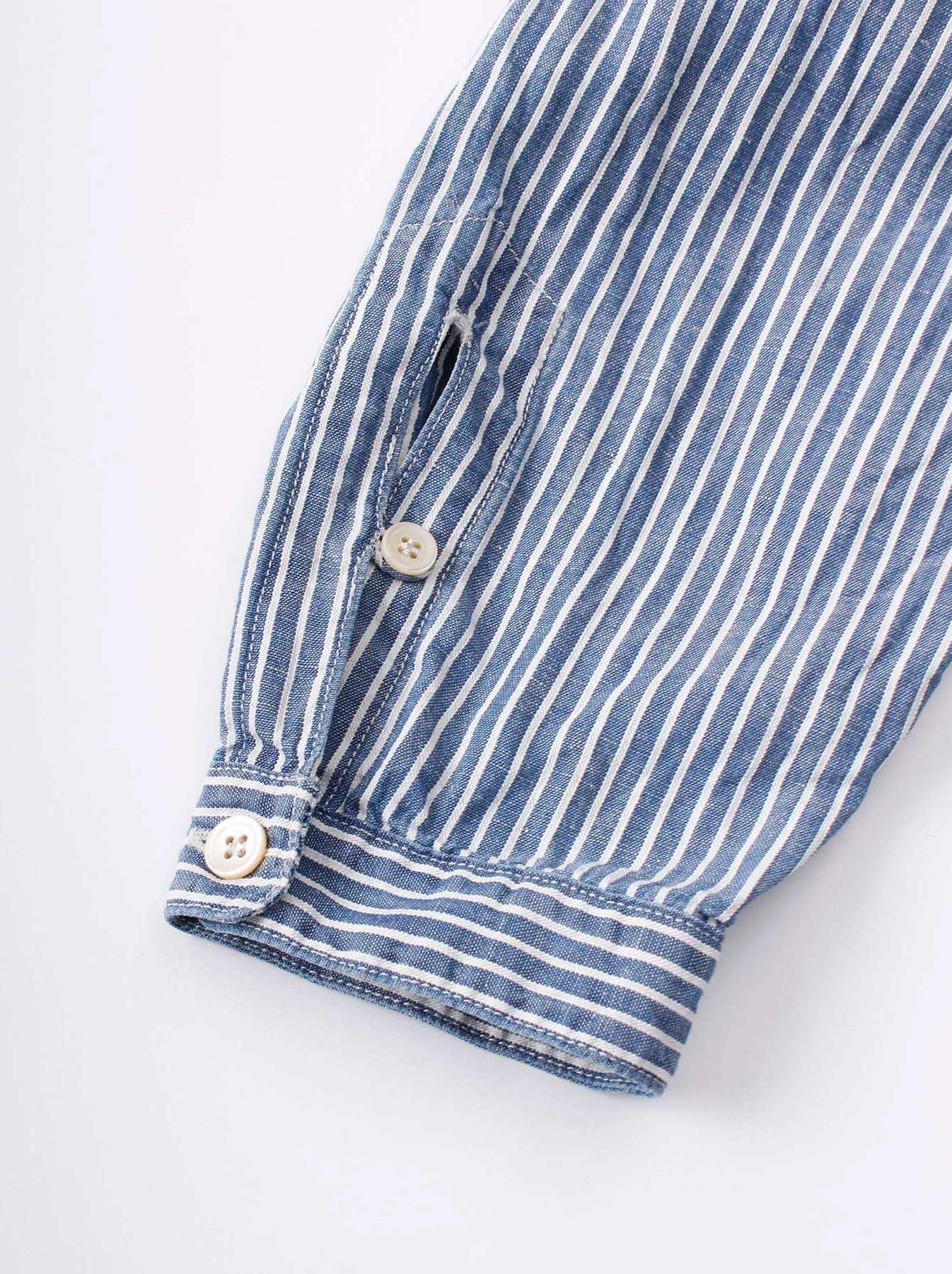 WH Cotton Linen Hickory Umahiko Pullover Shirt-9