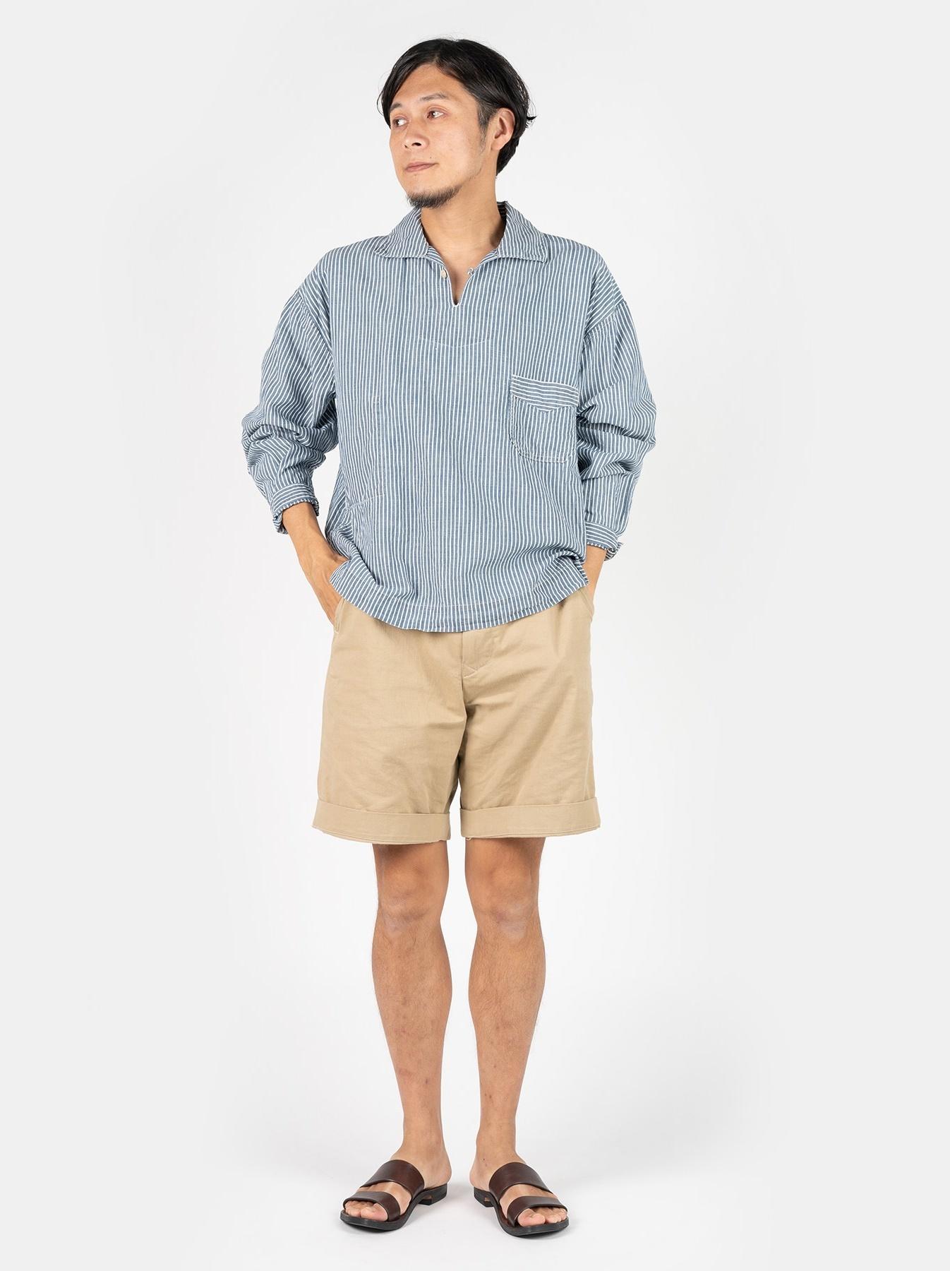 WH Cotton Linen Hickory Umahiko Pullover Shirt-2