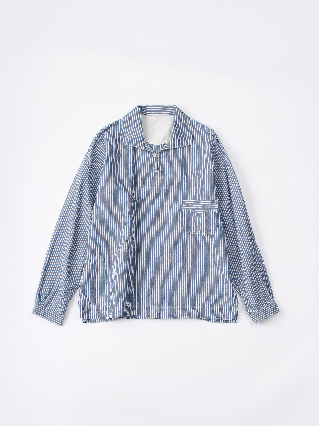 WH Cotton Linen Hickory Umahiko Pullover Shirt-1