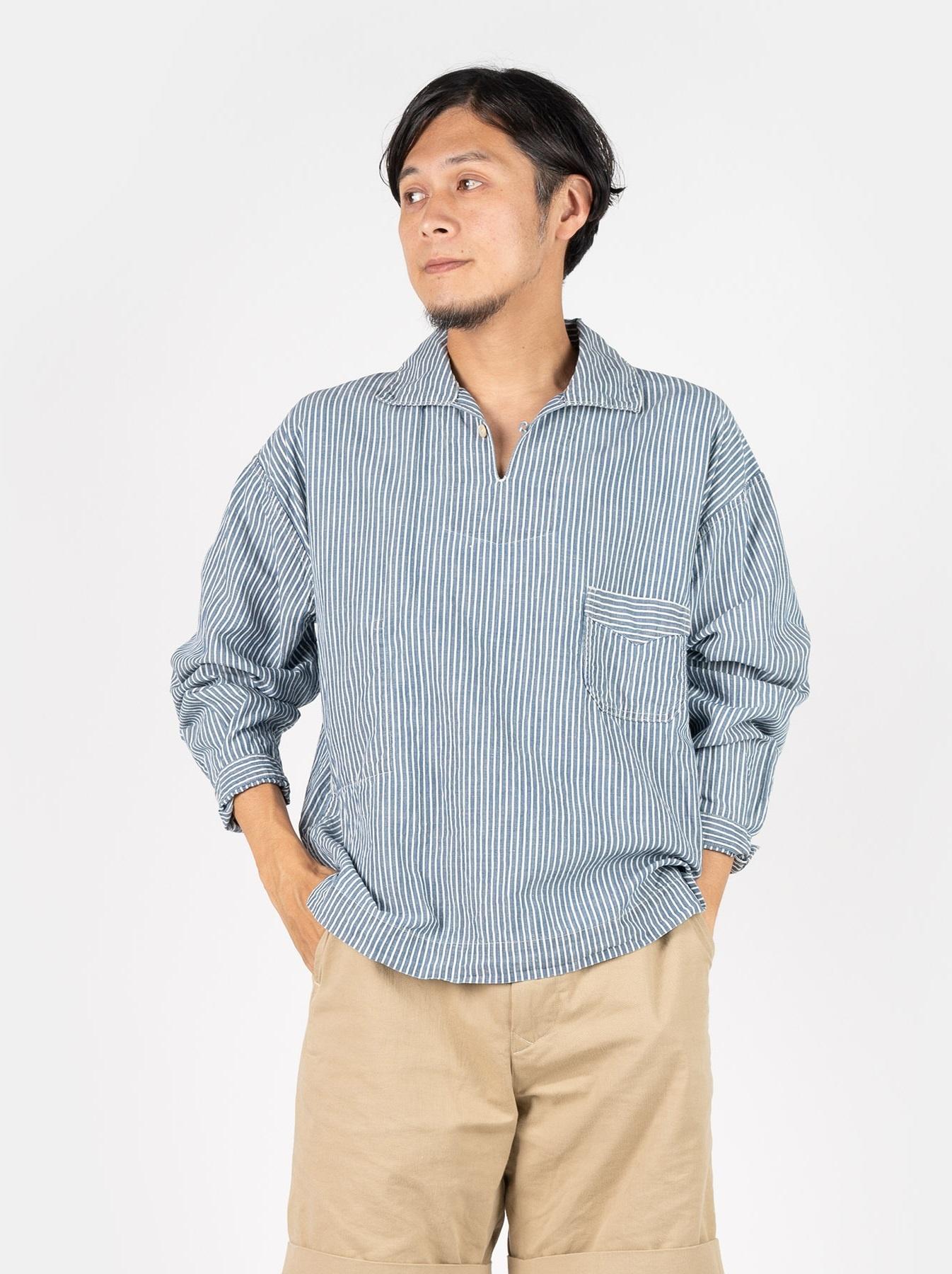 WH Cotton Linen Hickory Umahiko Pullover Shirt-3