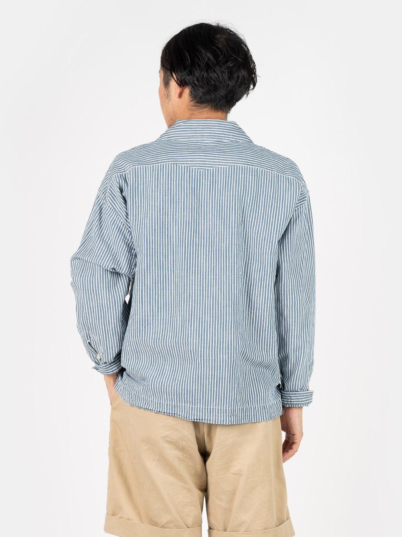WH Cotton Linen Hickory Umahiko Pullover Shirt-5