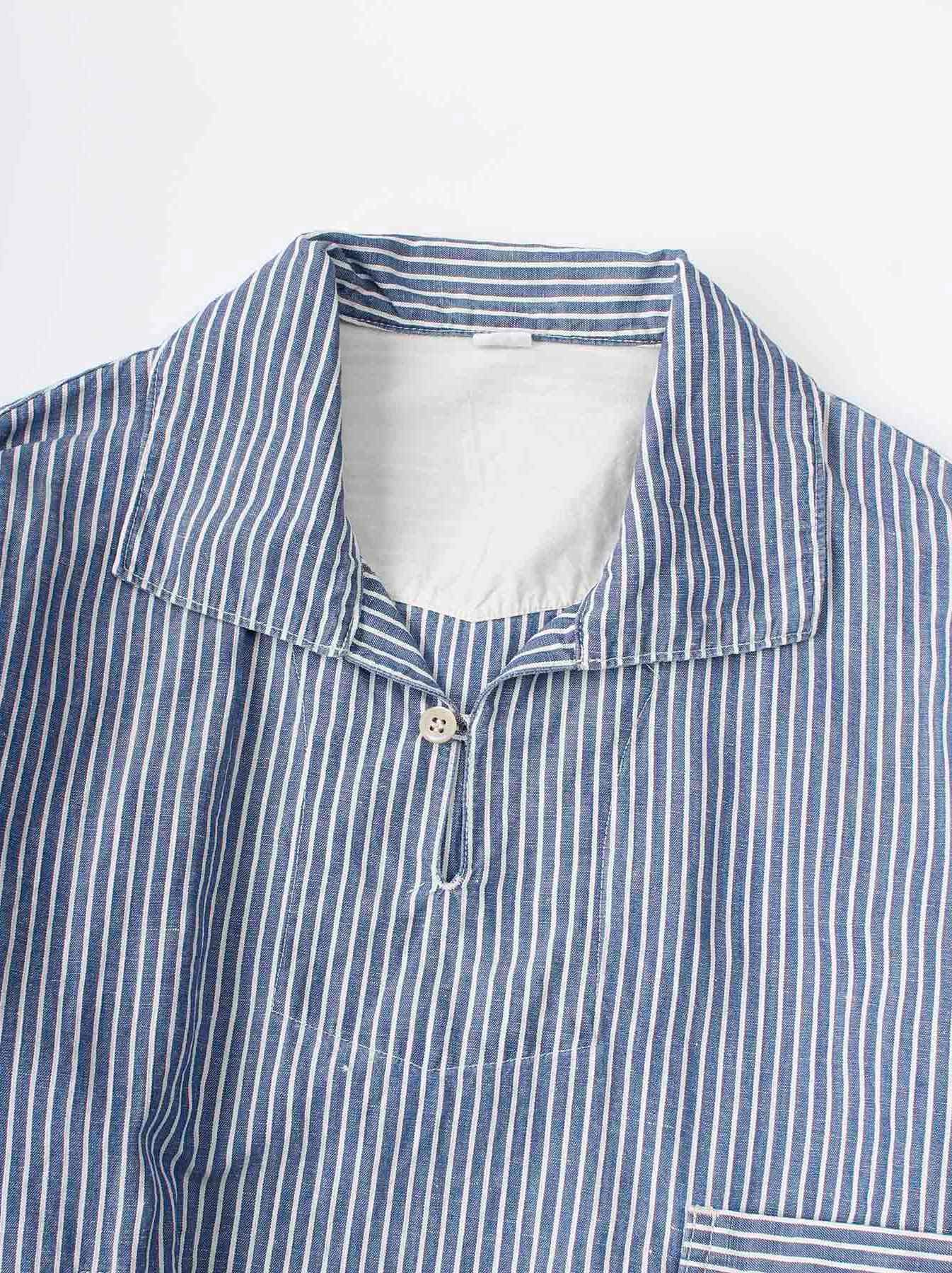WH Cotton Linen Hickory Umahiko Pullover Shirt-6